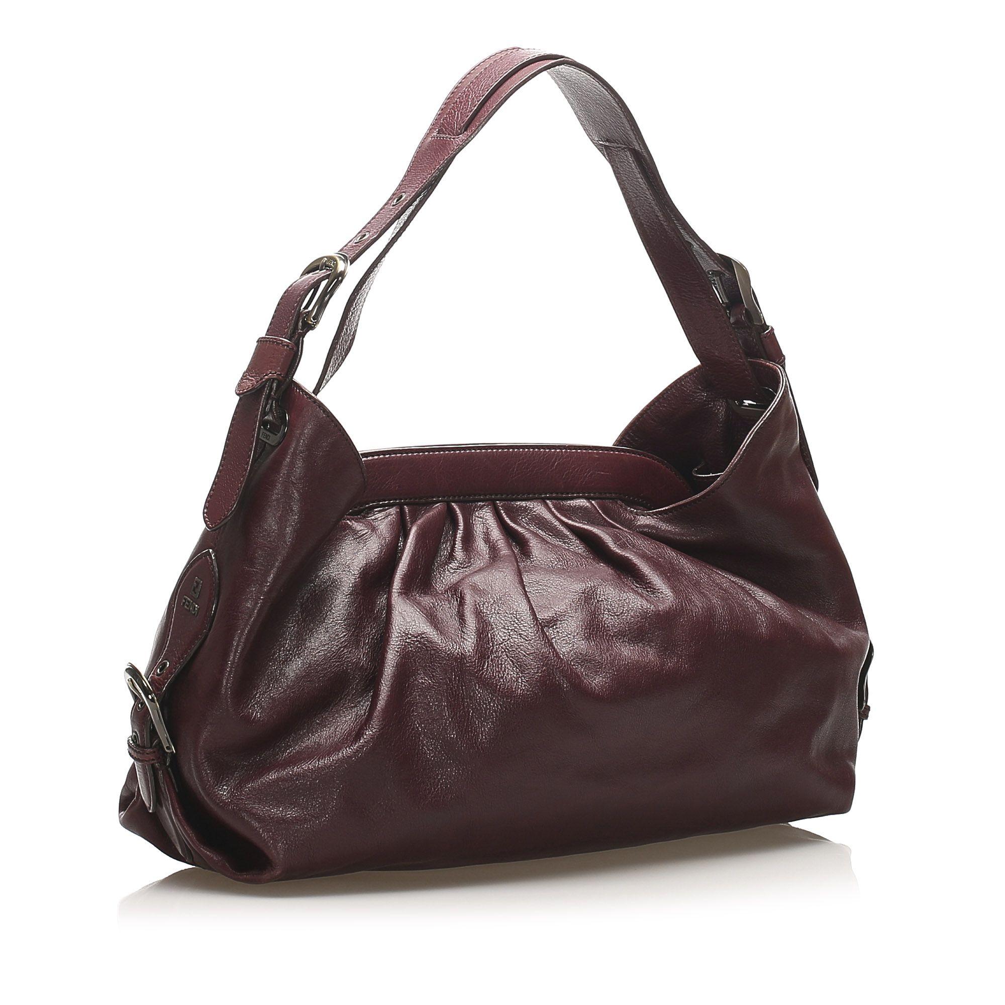 Vintage Fendi Doctor B Leather Handbag Red