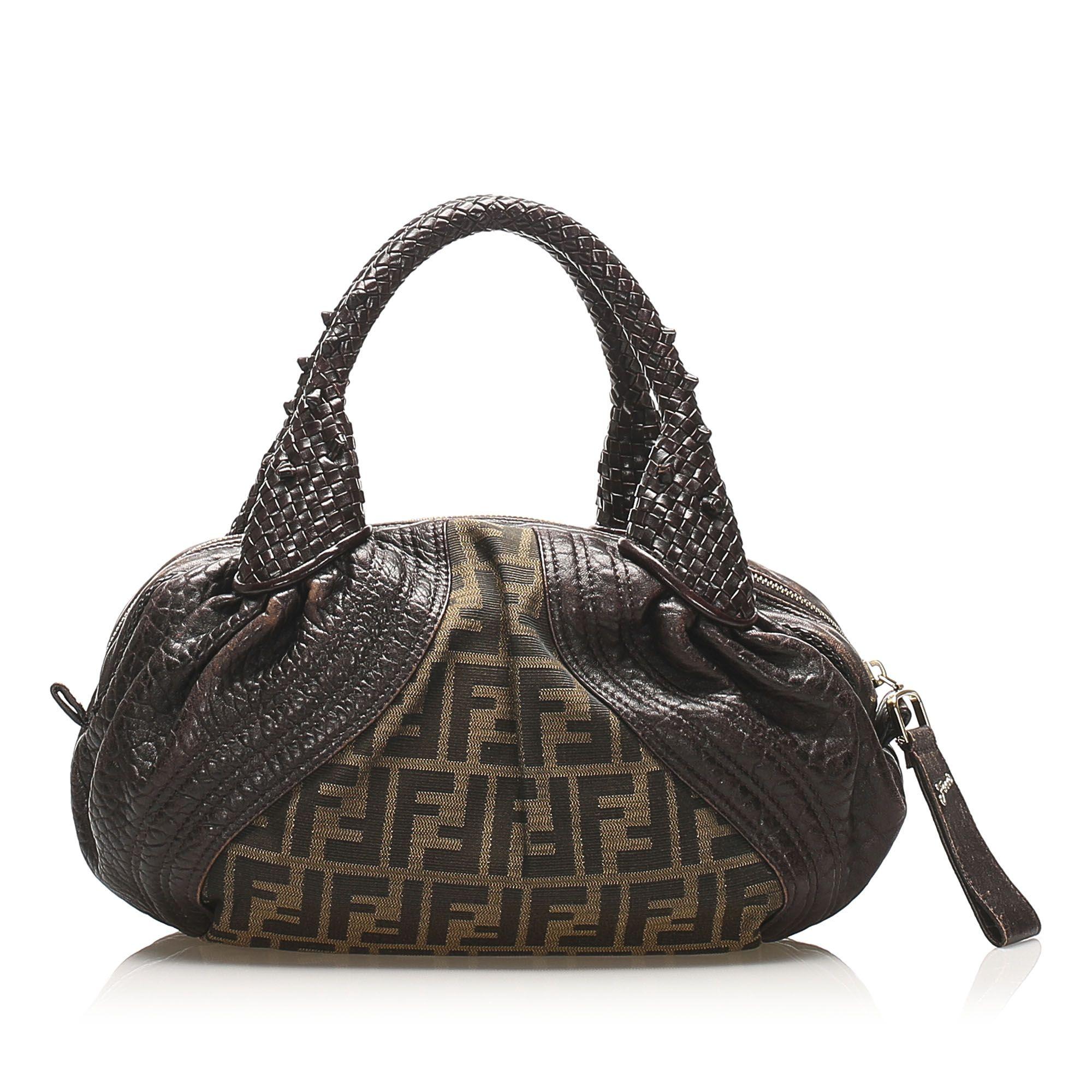 Vintage Fendi Zucca Spy Canvas Handbag Brown