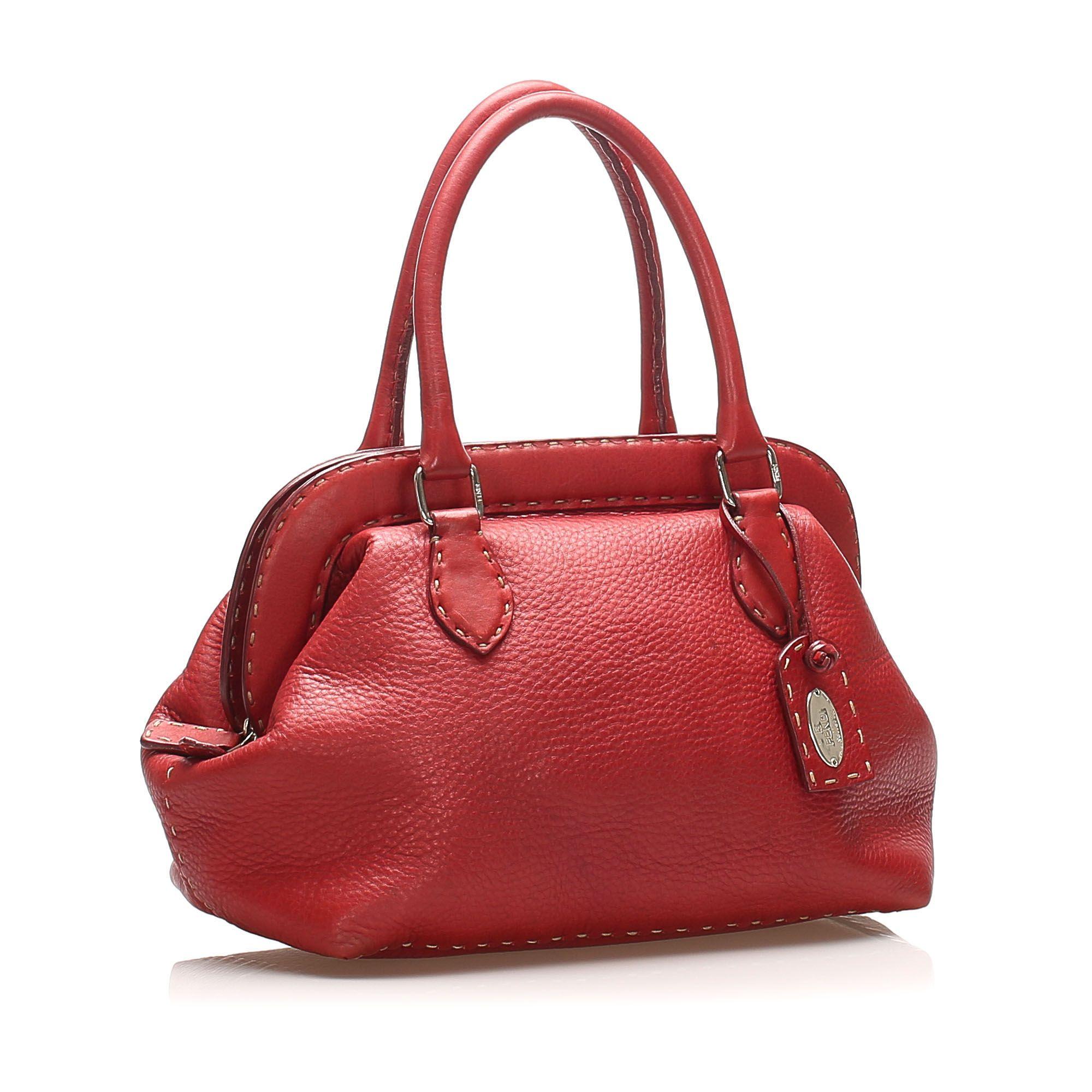 Vintage Fendi Selleria Leather Handbag Red