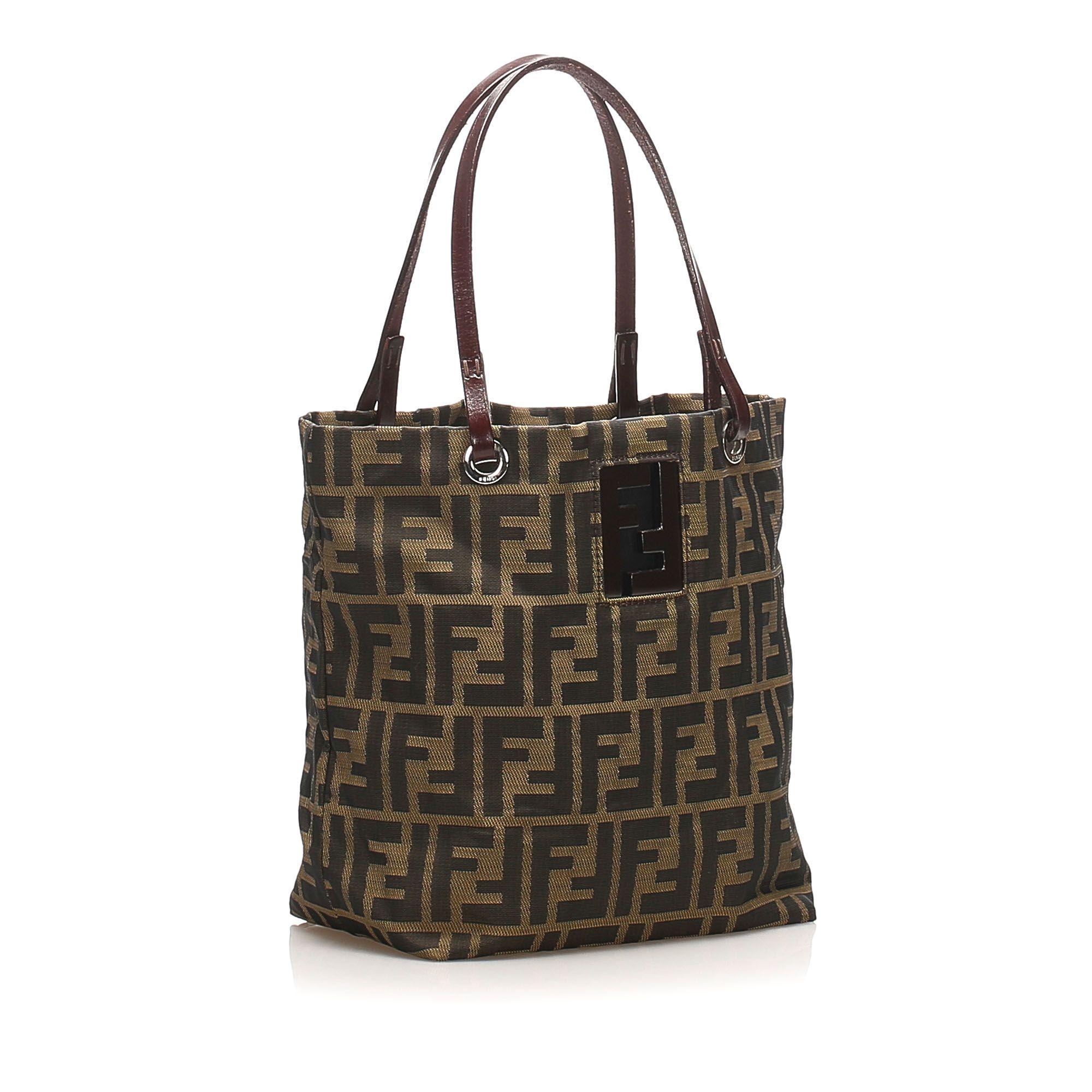 Vintage Fendi Zucca Canvas Handbag Brown