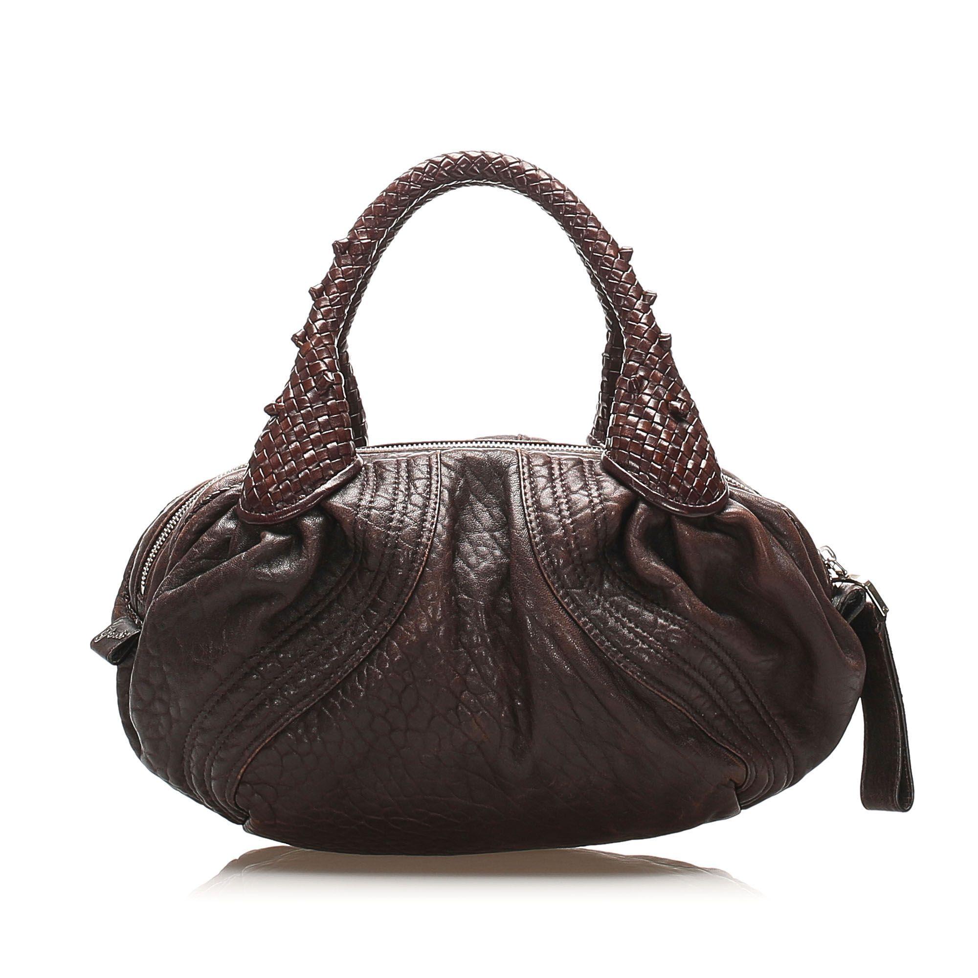 Vintage Fendi Spy Leather Handbag Brown