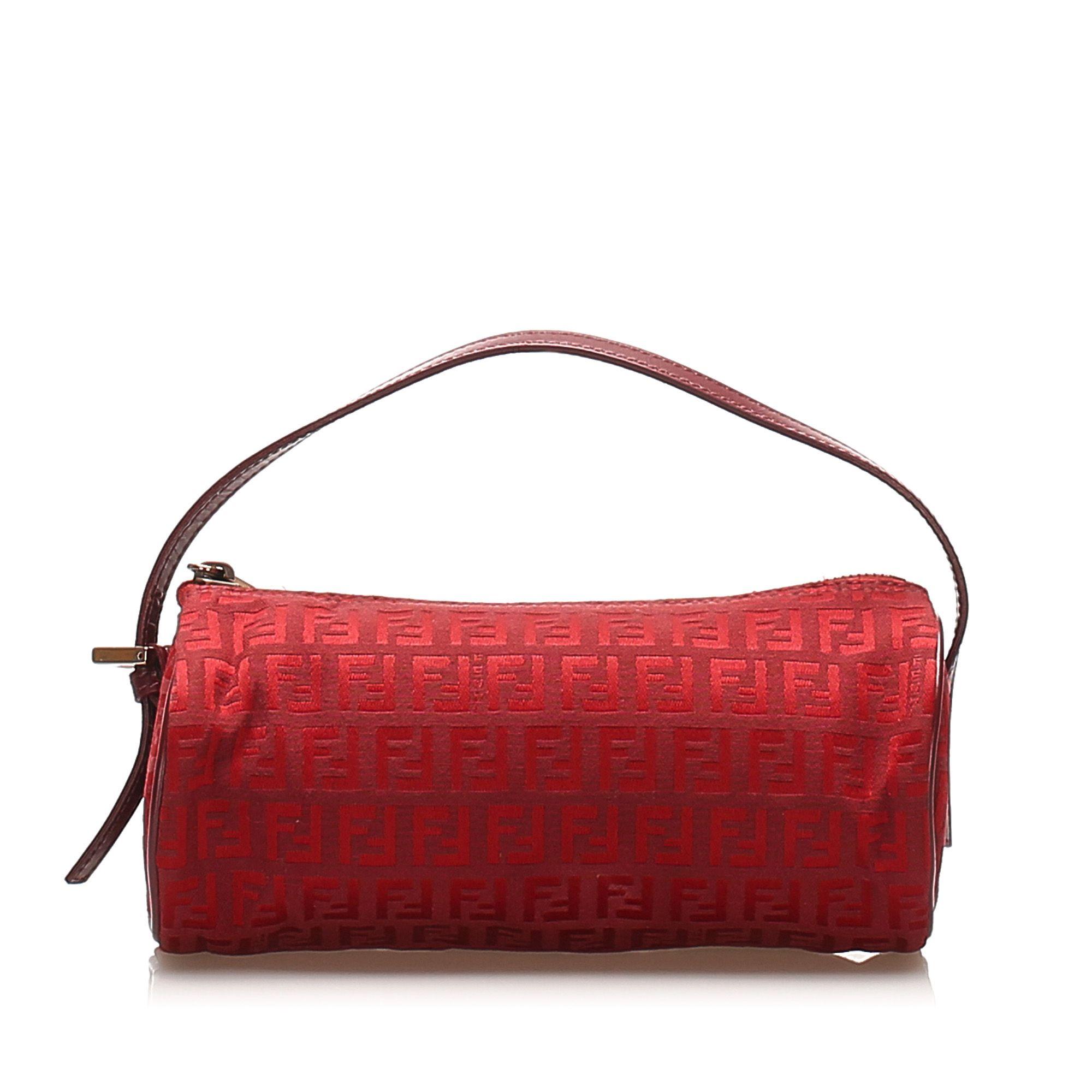 Vintage Fendi Zucchino Canvas Handbag Red