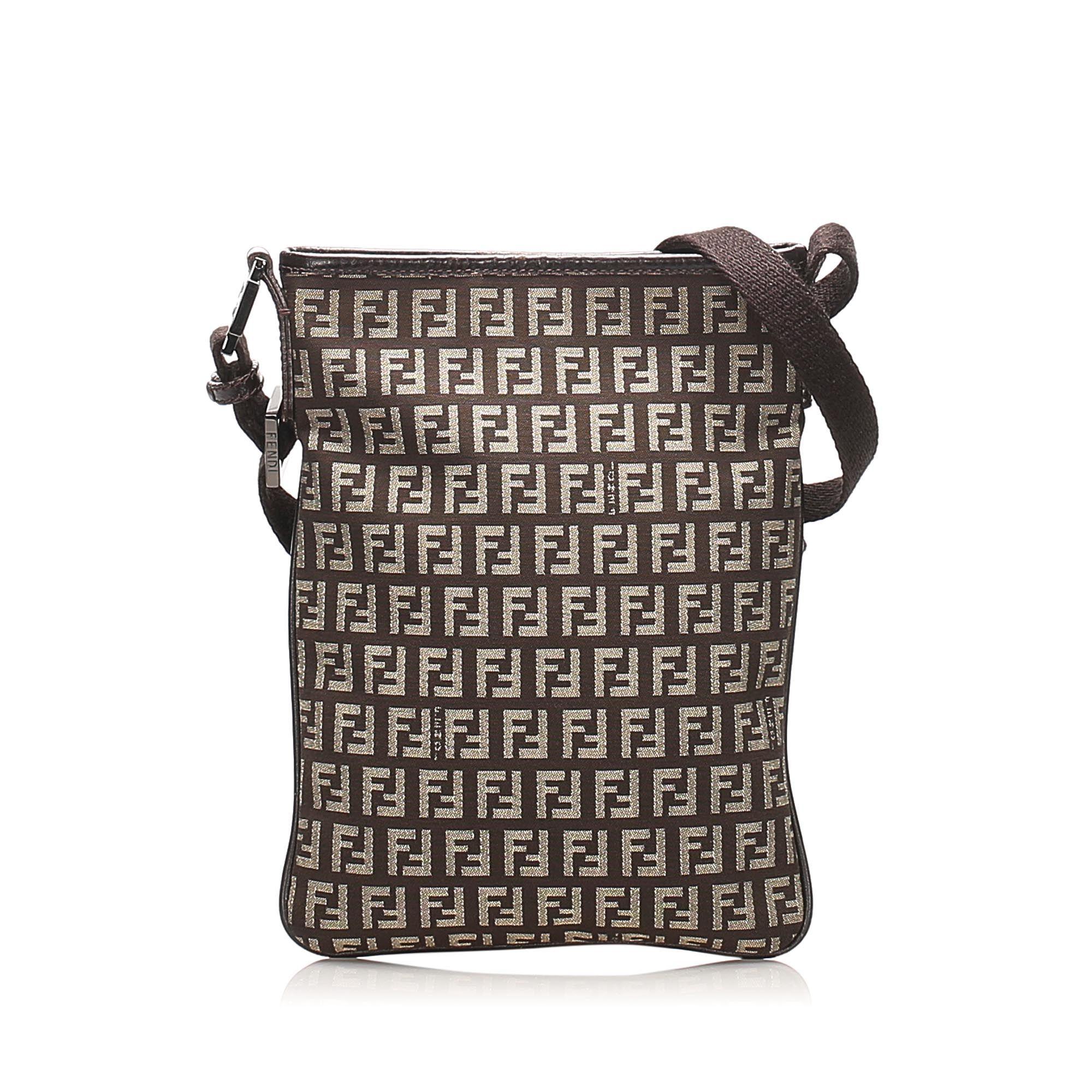 Vintage Fendi Zucchino Canvas Crossbody Bag Brown