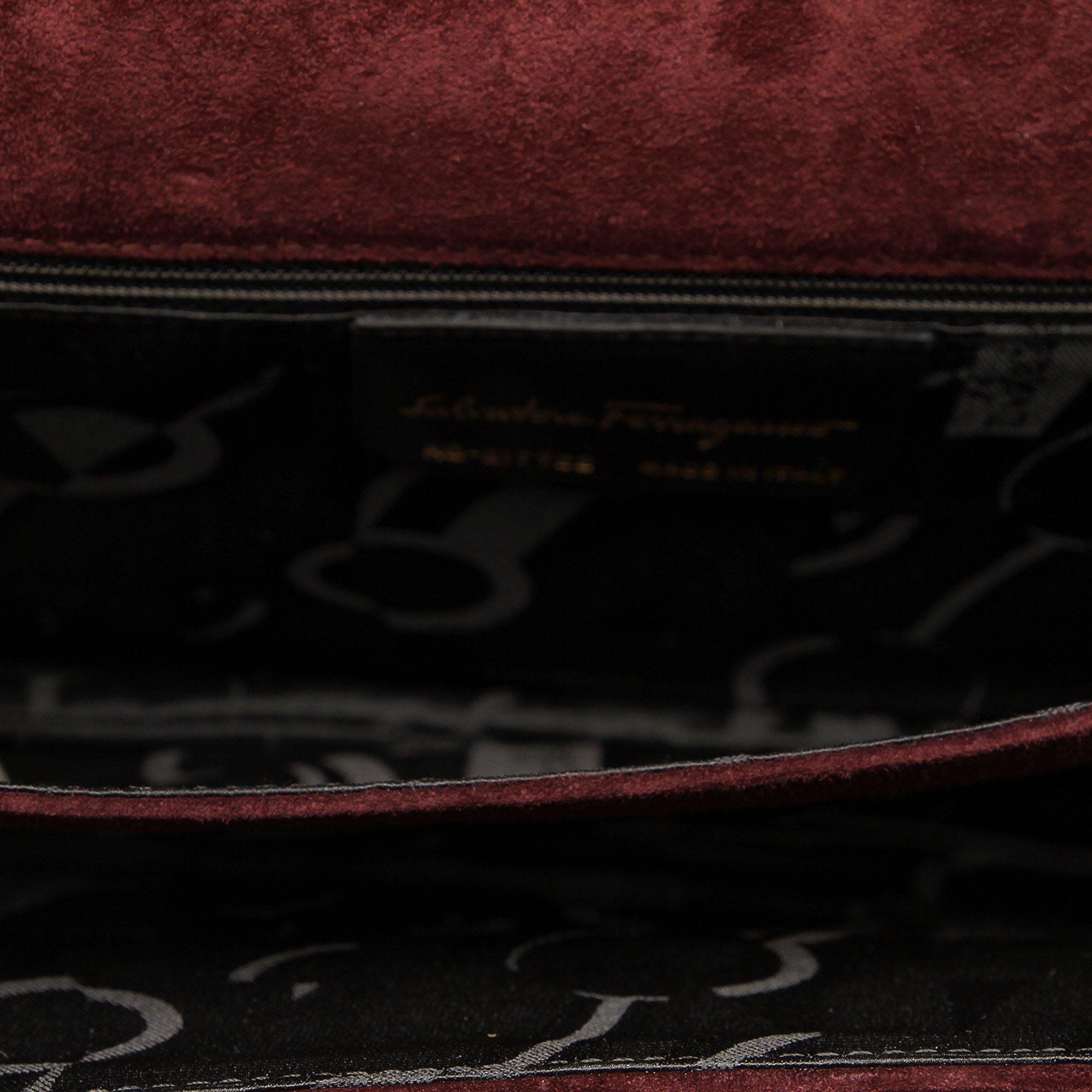 Vintage Ferragamo Suede Shoulder Bag Brown