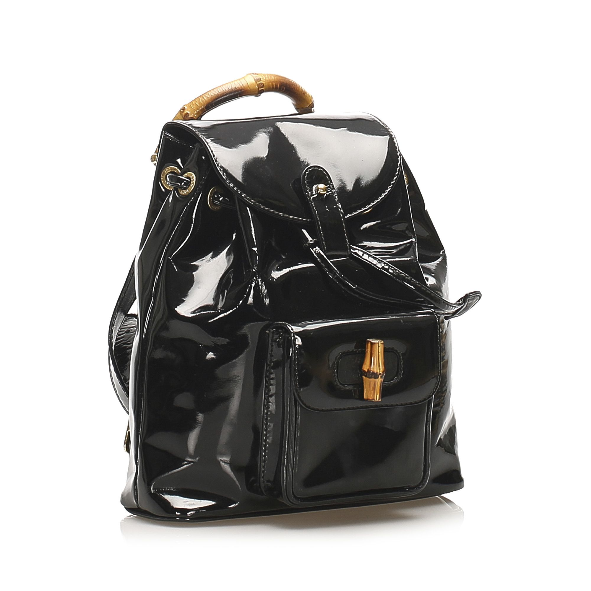 Vintage Gucci Bamboo Patent Leather Drawstring Backpack Black