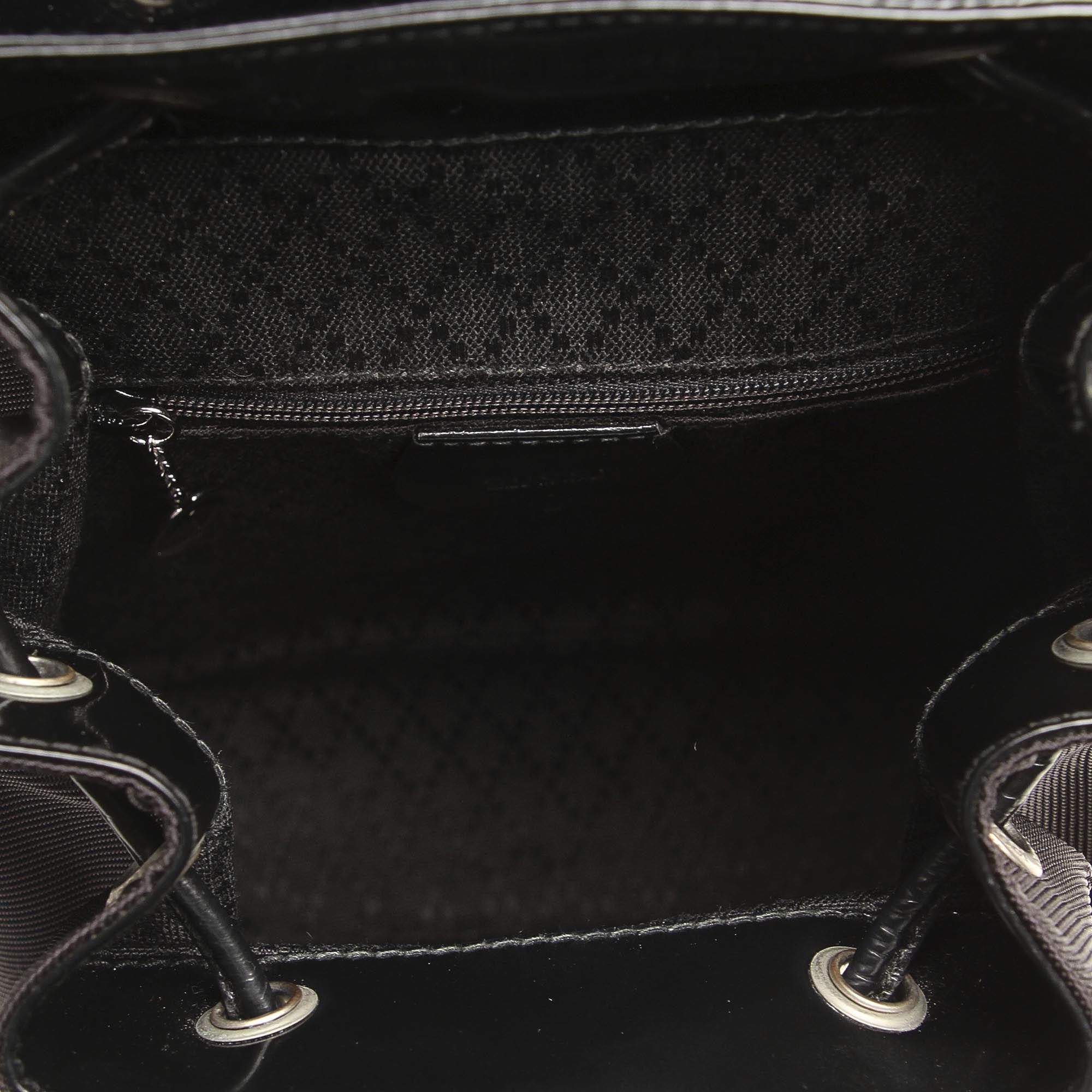 Vintage Gucci Bamboo Canvas Drawstring Backpack Black