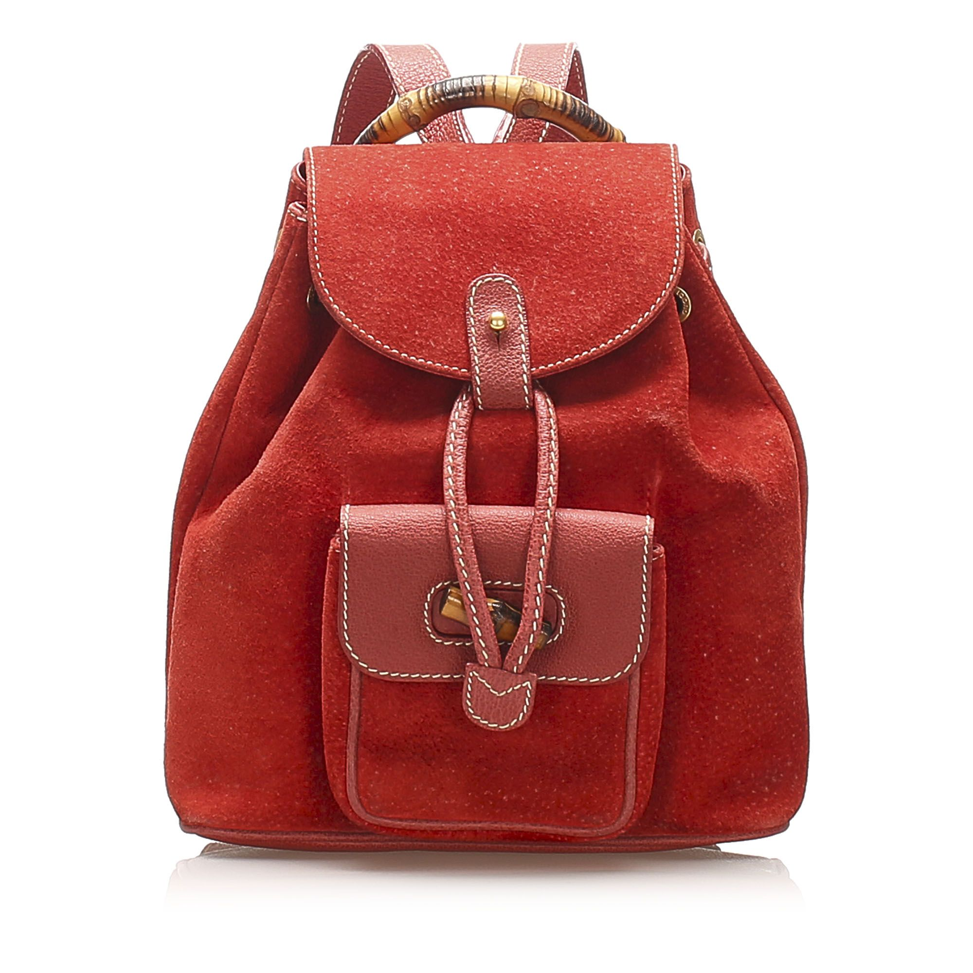 Vintage Gucci Bamboo Drawstring Suede Backpack Red
