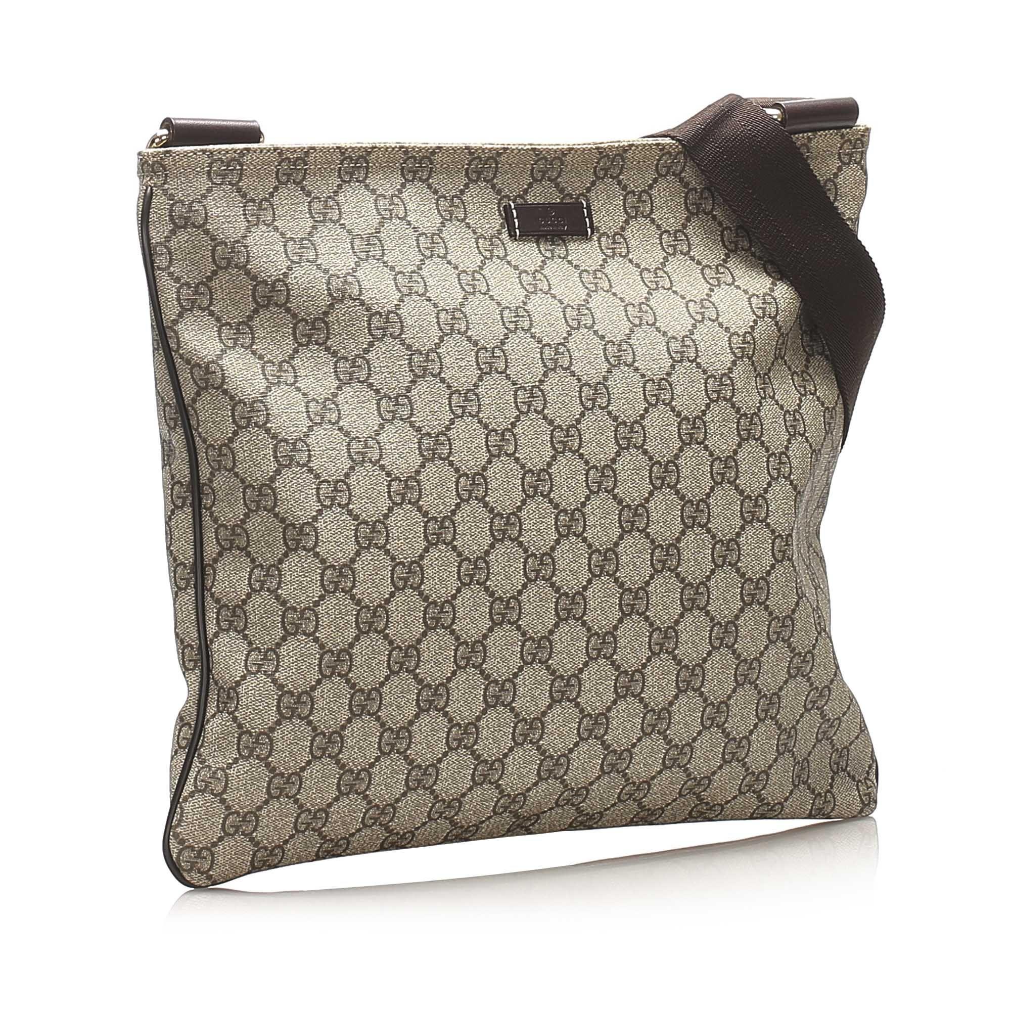 Vintage Gucci GG Supreme Crossbody Bag Brown
