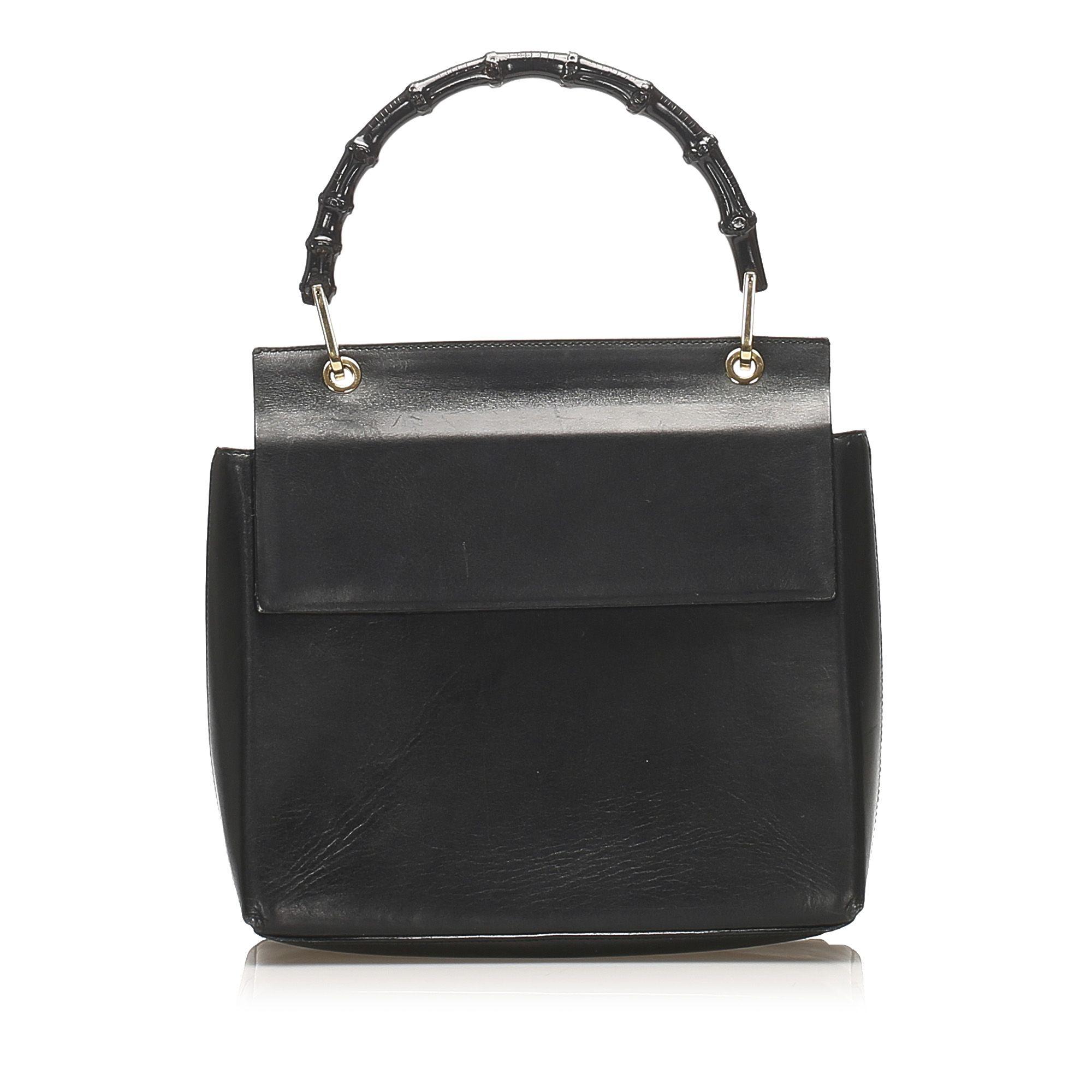 Vintage Gucci Bamboo Leather Handbag Black
