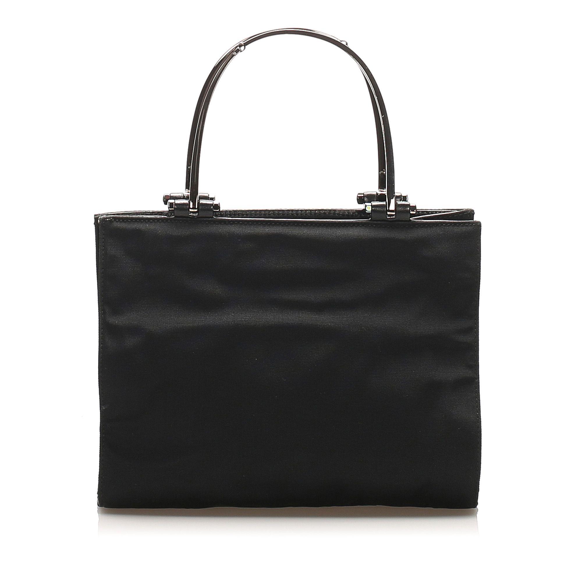 Vintage Gucci Nylon Metal Handbag Black