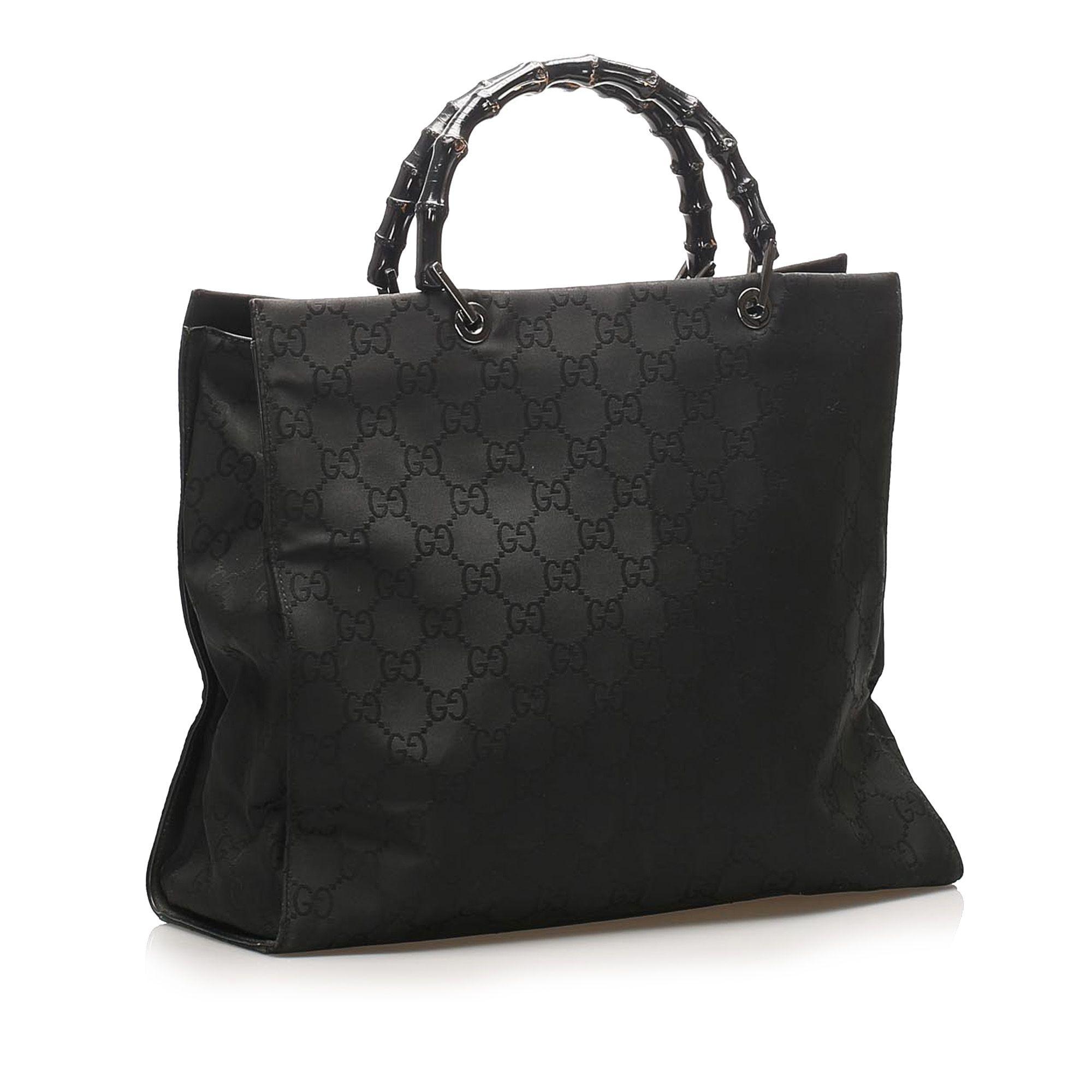 Vintage Gucci GG Nylon Bamboo Tote Bag Black