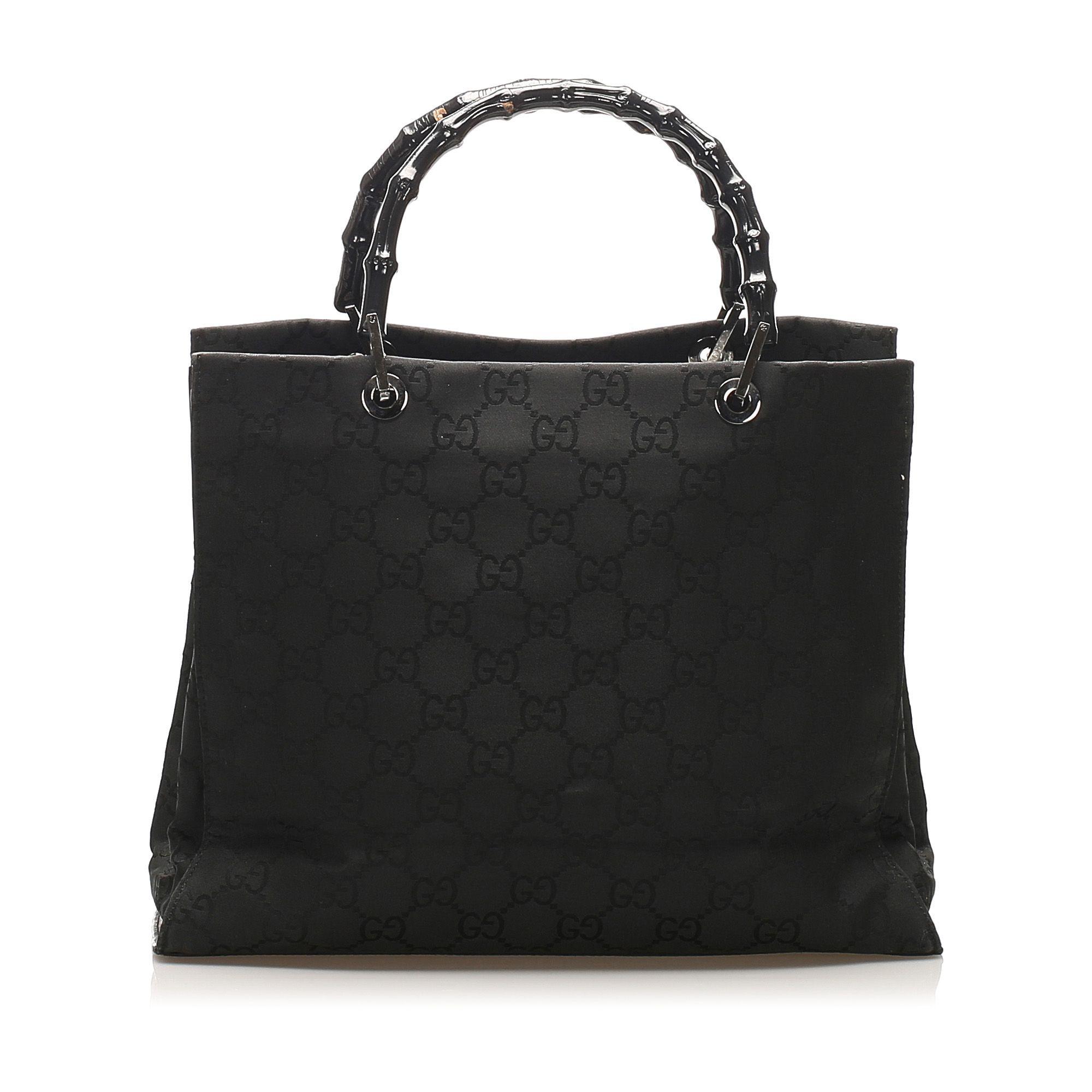 Vintage Gucci Bamboo Canvas Handbag Black