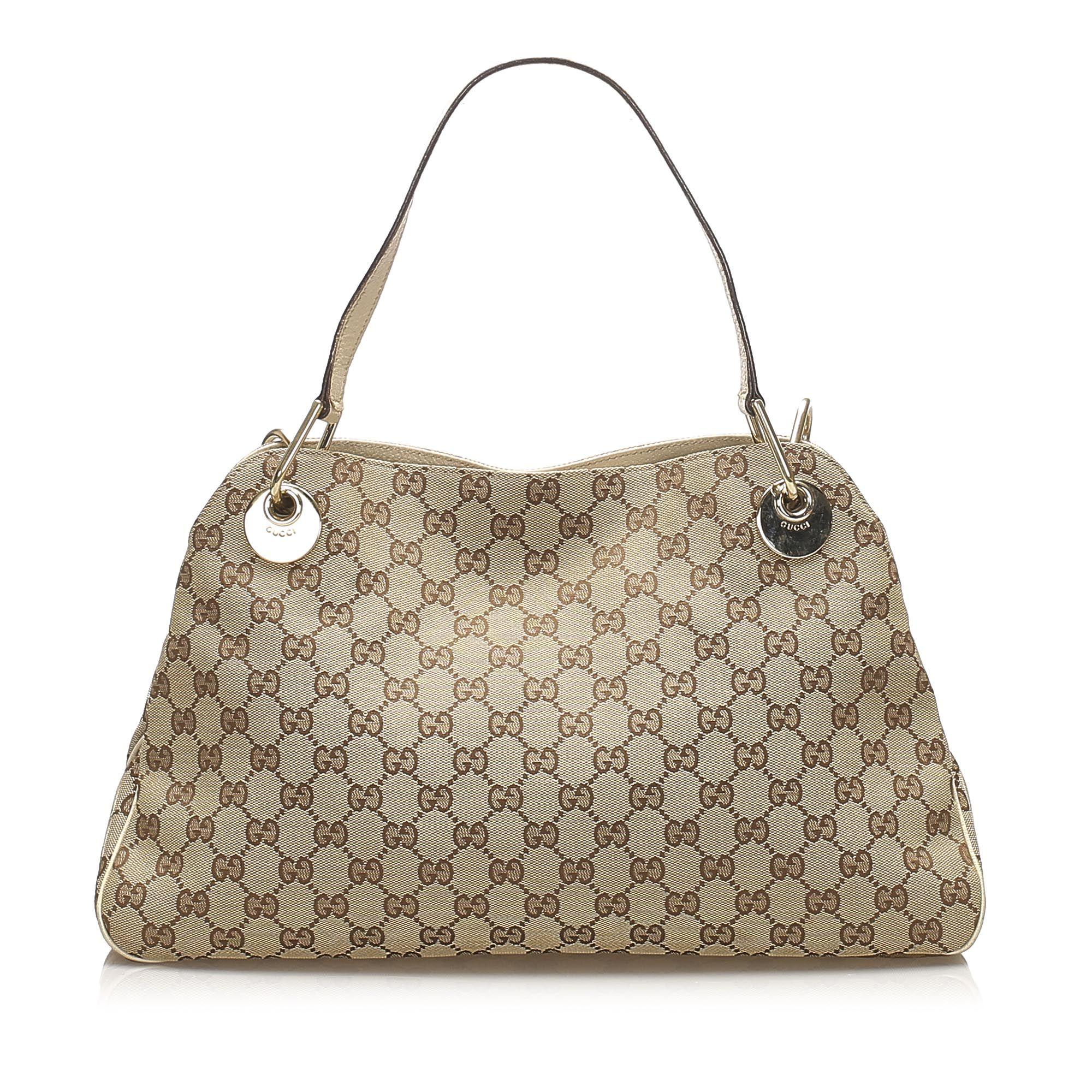 Vintage Gucci GG Canvas Eclipse Shoulder Bag Brown