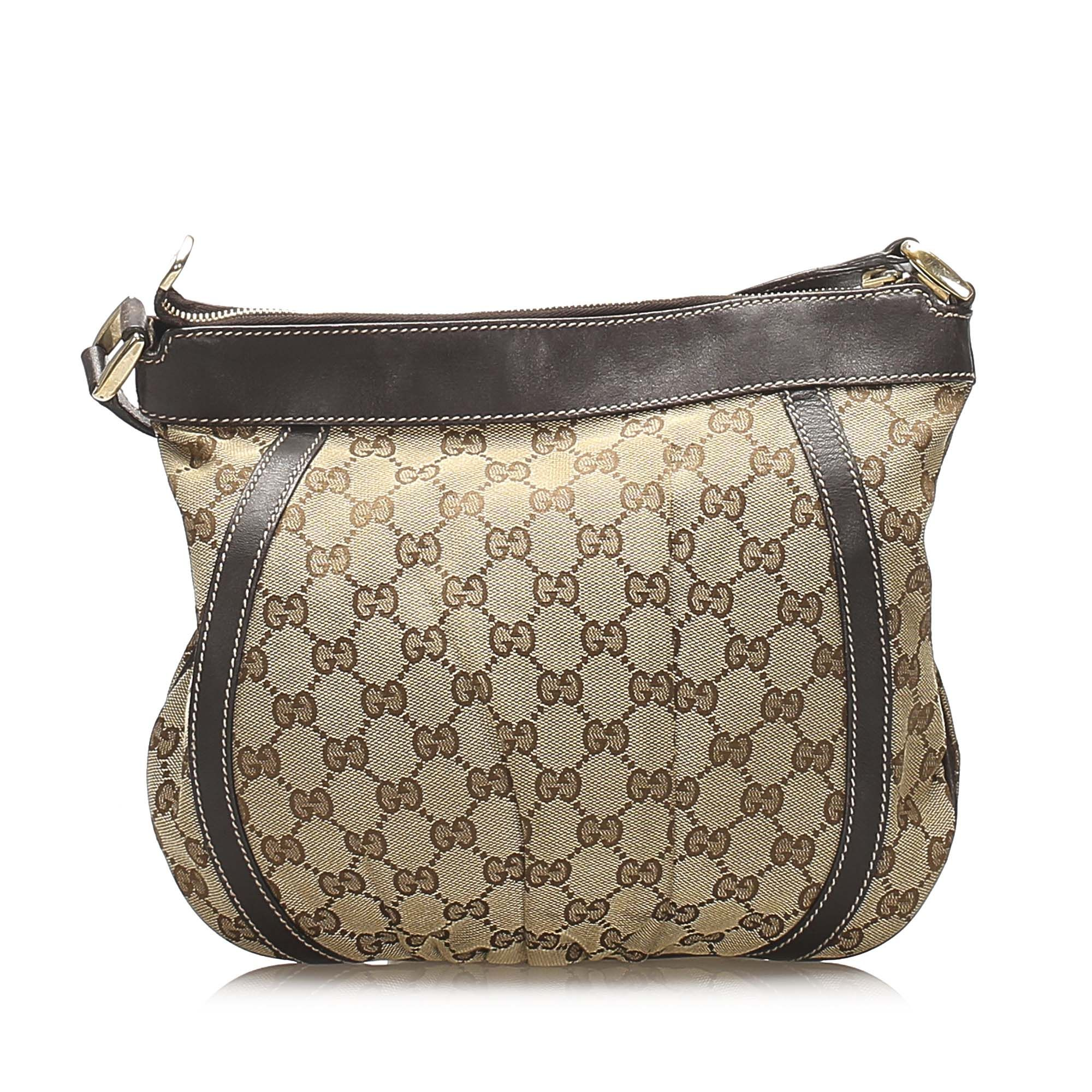 Vintage Gucci GG Canvas Abbey D-Ring Crossbody Bag Brown