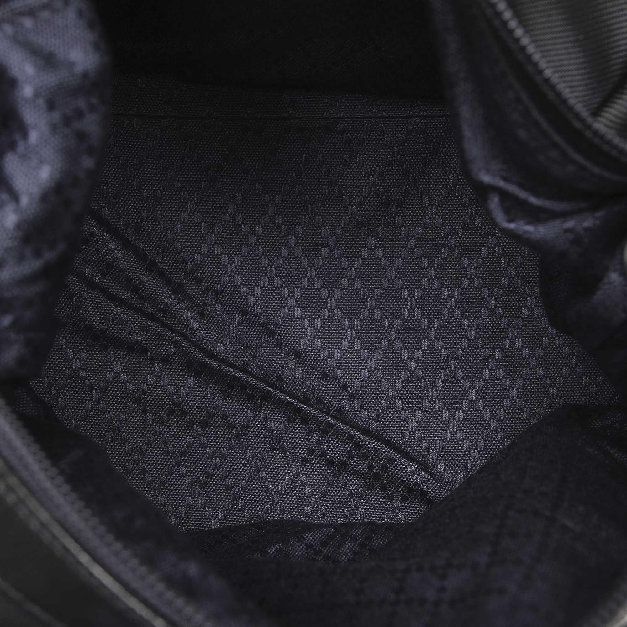 Vintage Gucci Bamboo Nylon Shoulder Bag Black