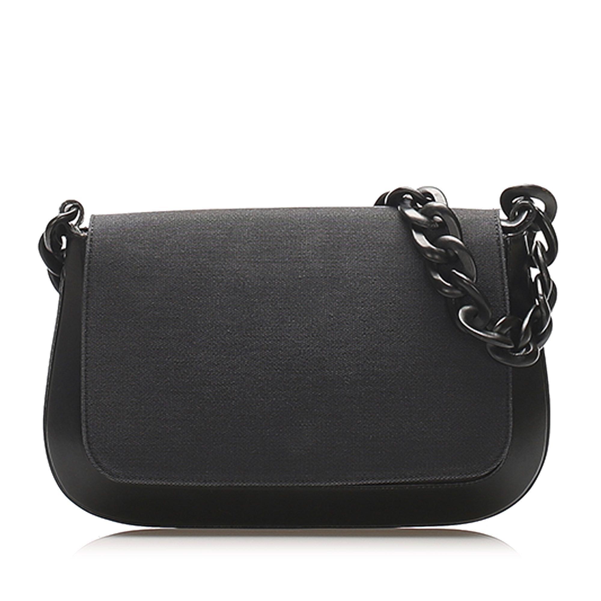 Vintage Gucci Canvas Chain Shoulder Bag Black
