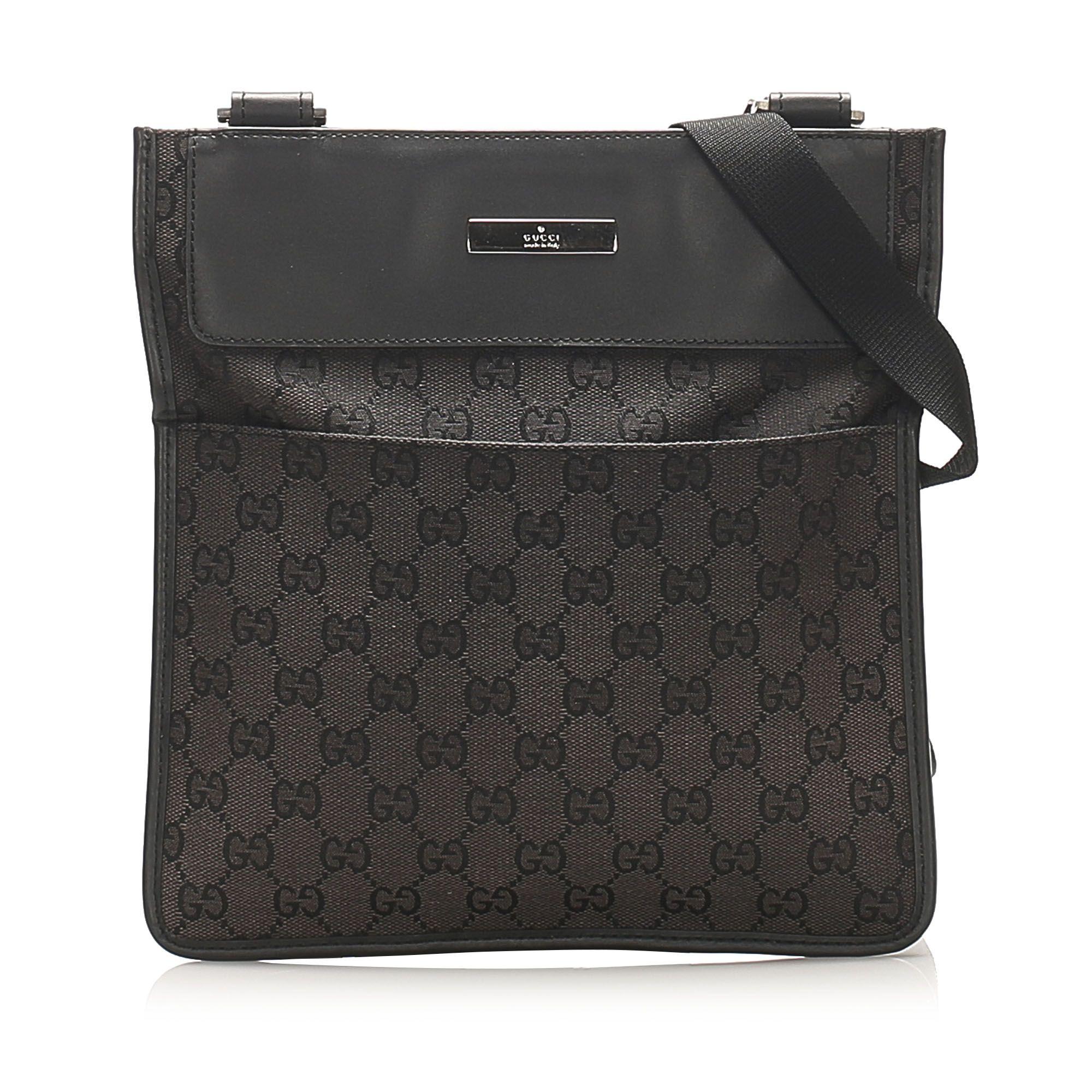 Vintage Gucci GG Canvas Crossbody Bag Black