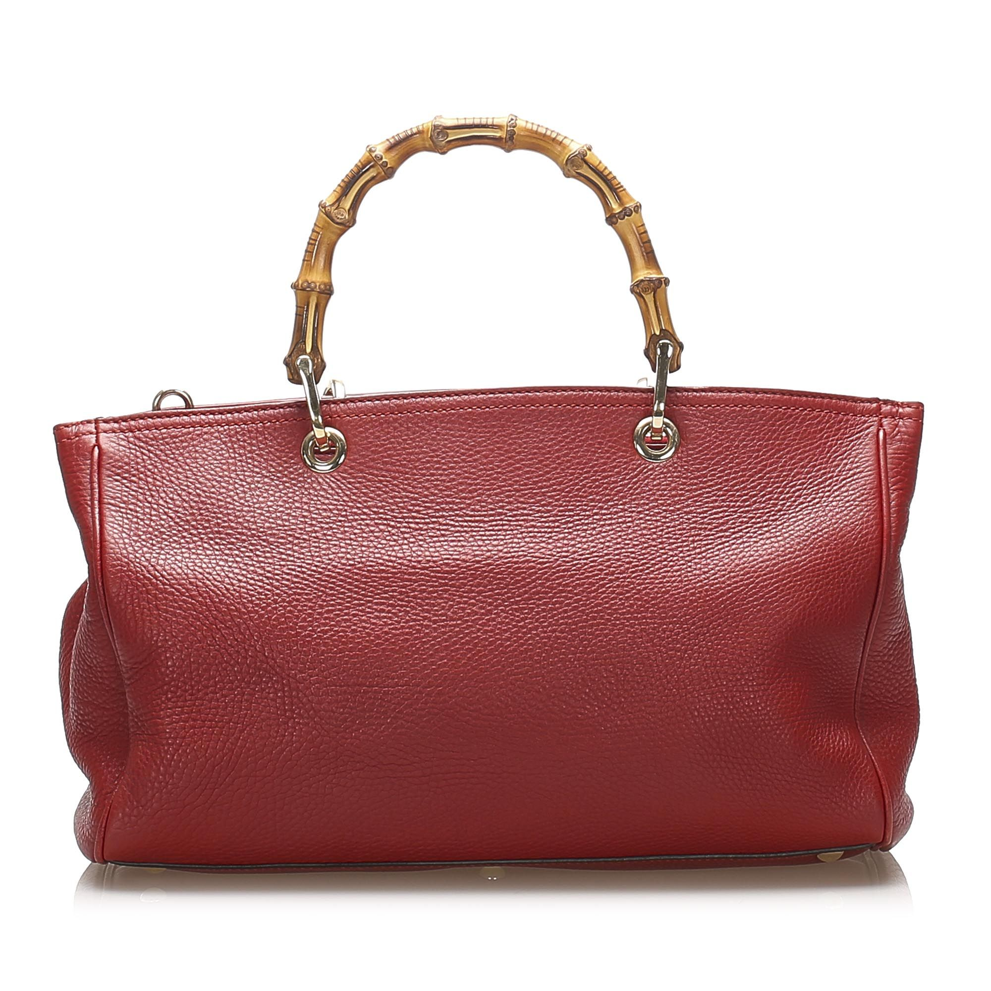 Vintage Gucci Bamboo Shopper Leather Satchel Red