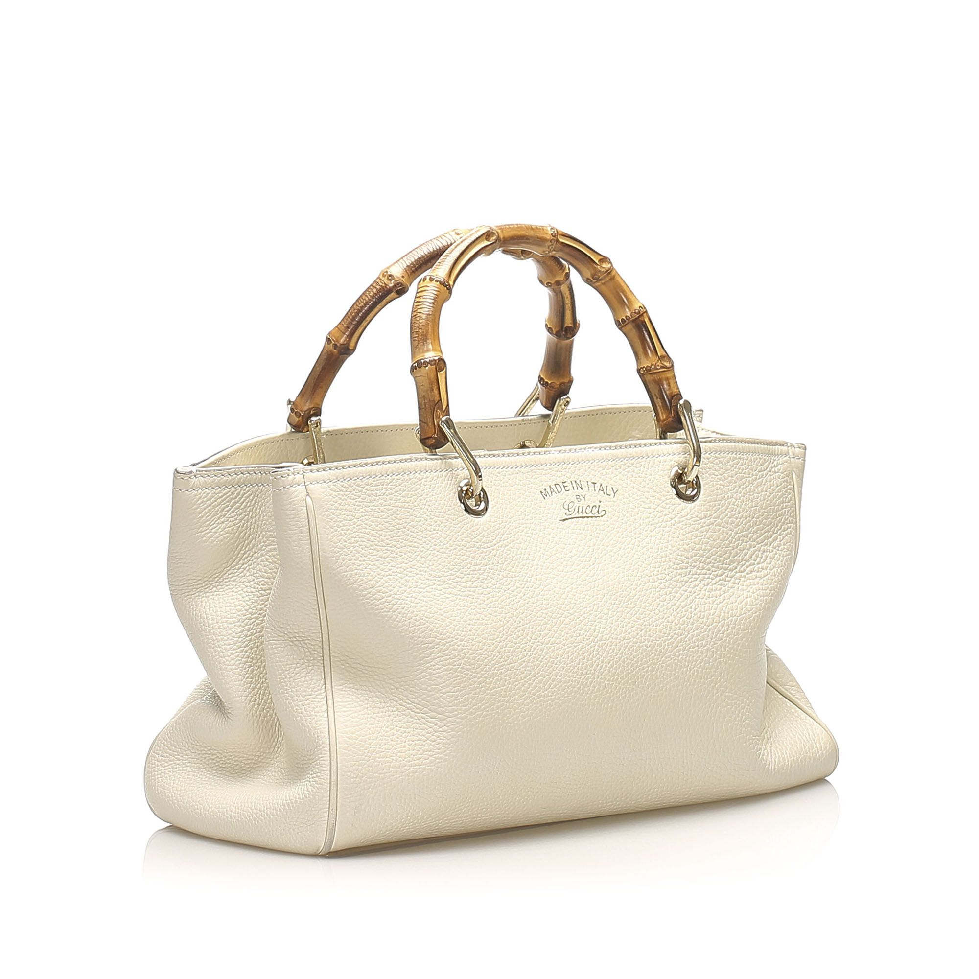 Vintage Gucci Bamboo Shopper Leather Satchel White
