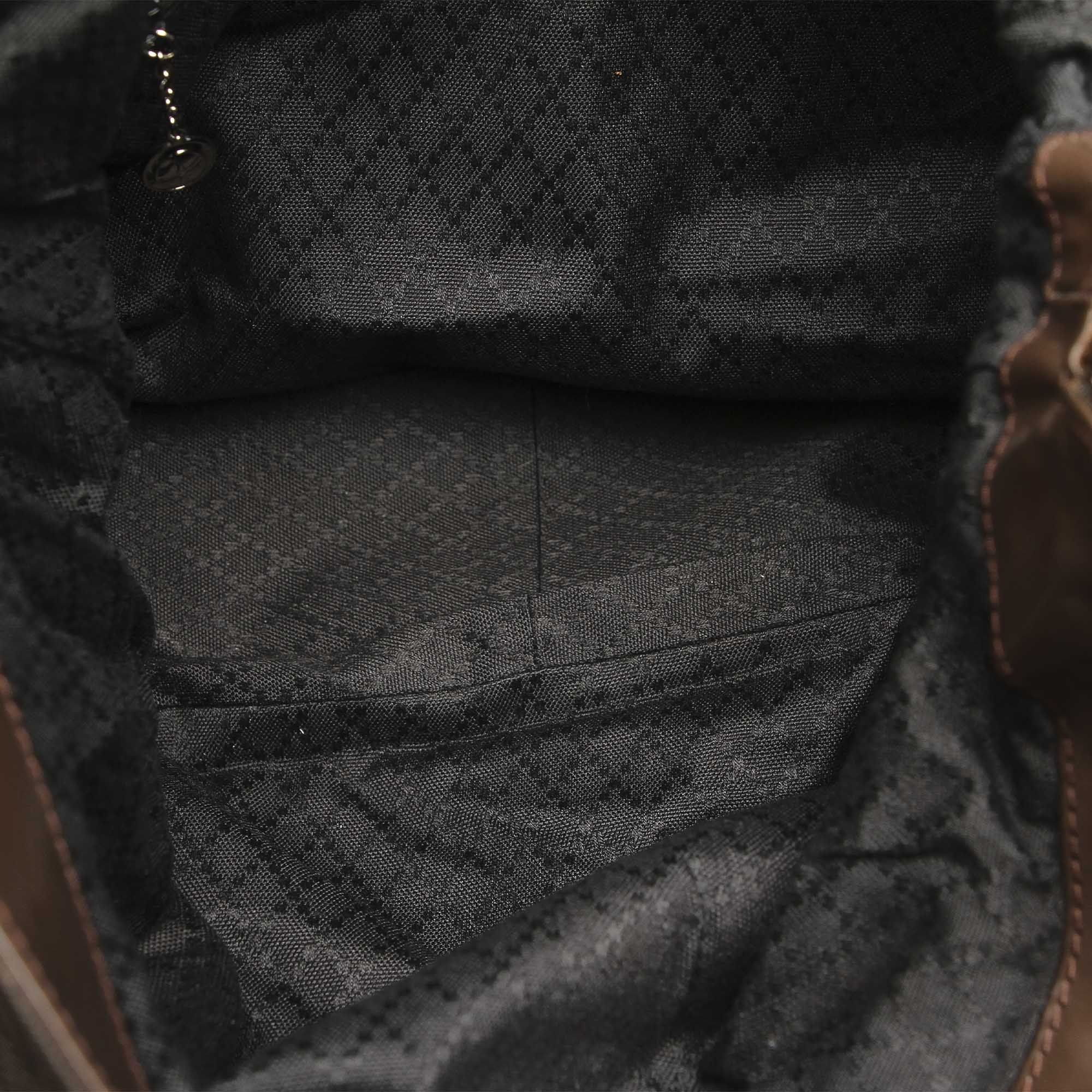 Vintage Gucci Bamboo Canvas Satchel Brown