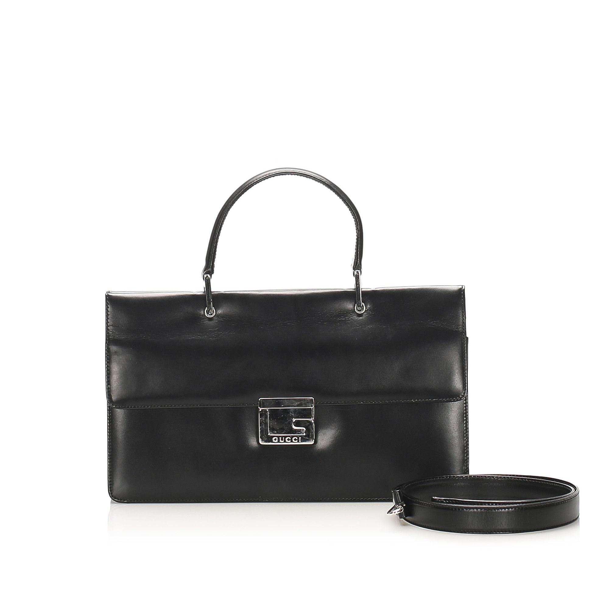 Vintage Gucci Leather Satchel Black