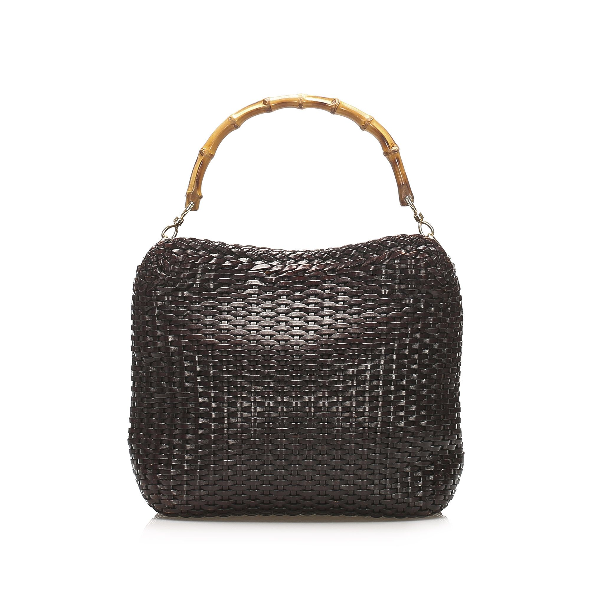 Vintage Gucci Bamboo Woven Leather Satchel Brown