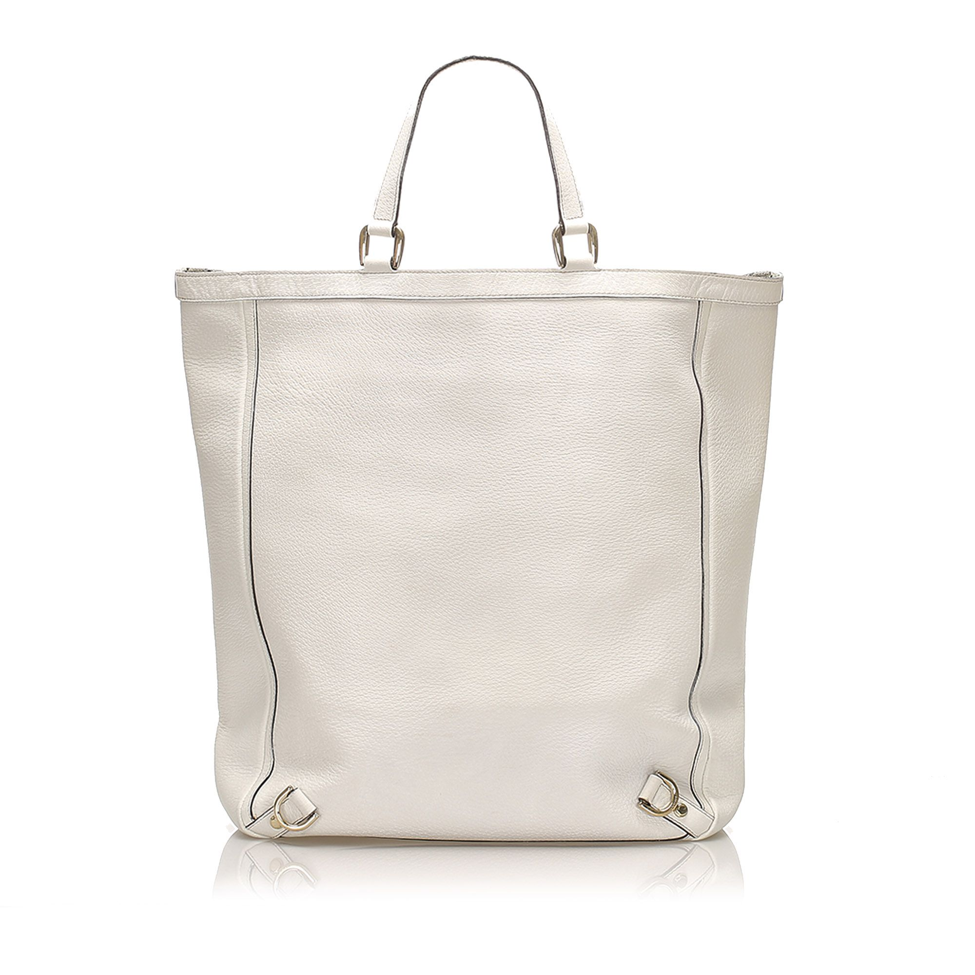 Vintage Gucci Abbey D-Ring Leather Tote Bag White