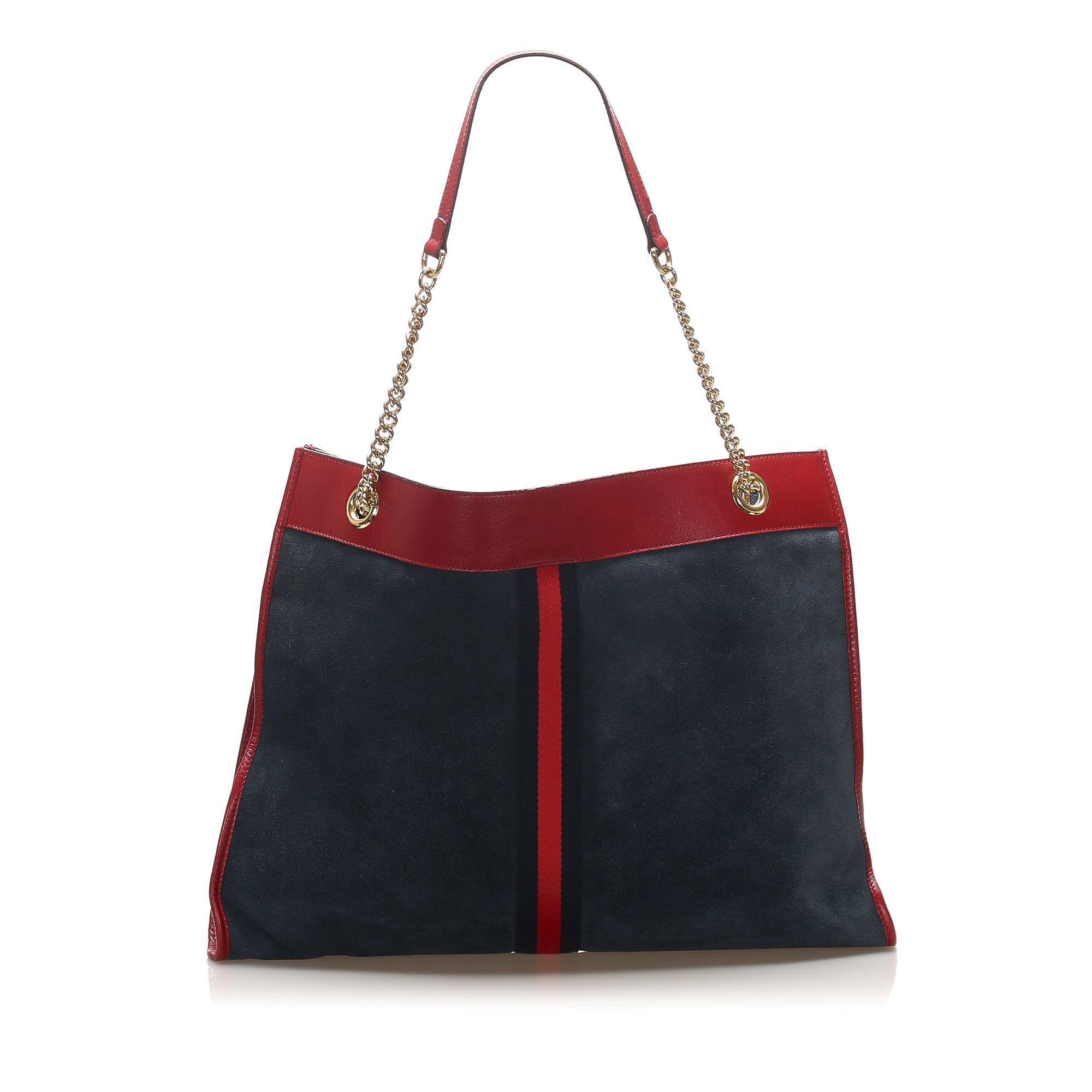 Vintage Gucci Large NY Yankees Rajah Suede Tote Bag Blue