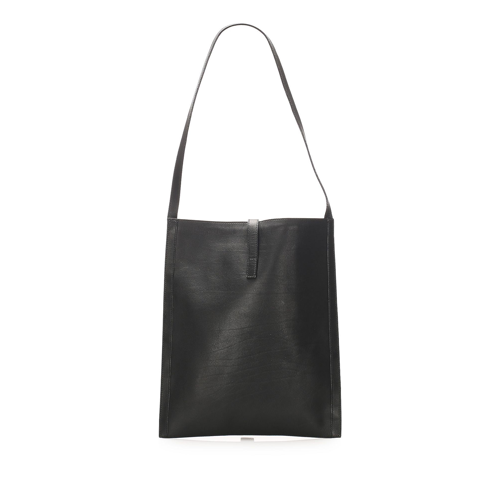 Vintage Gucci Leather Tote Bag Black