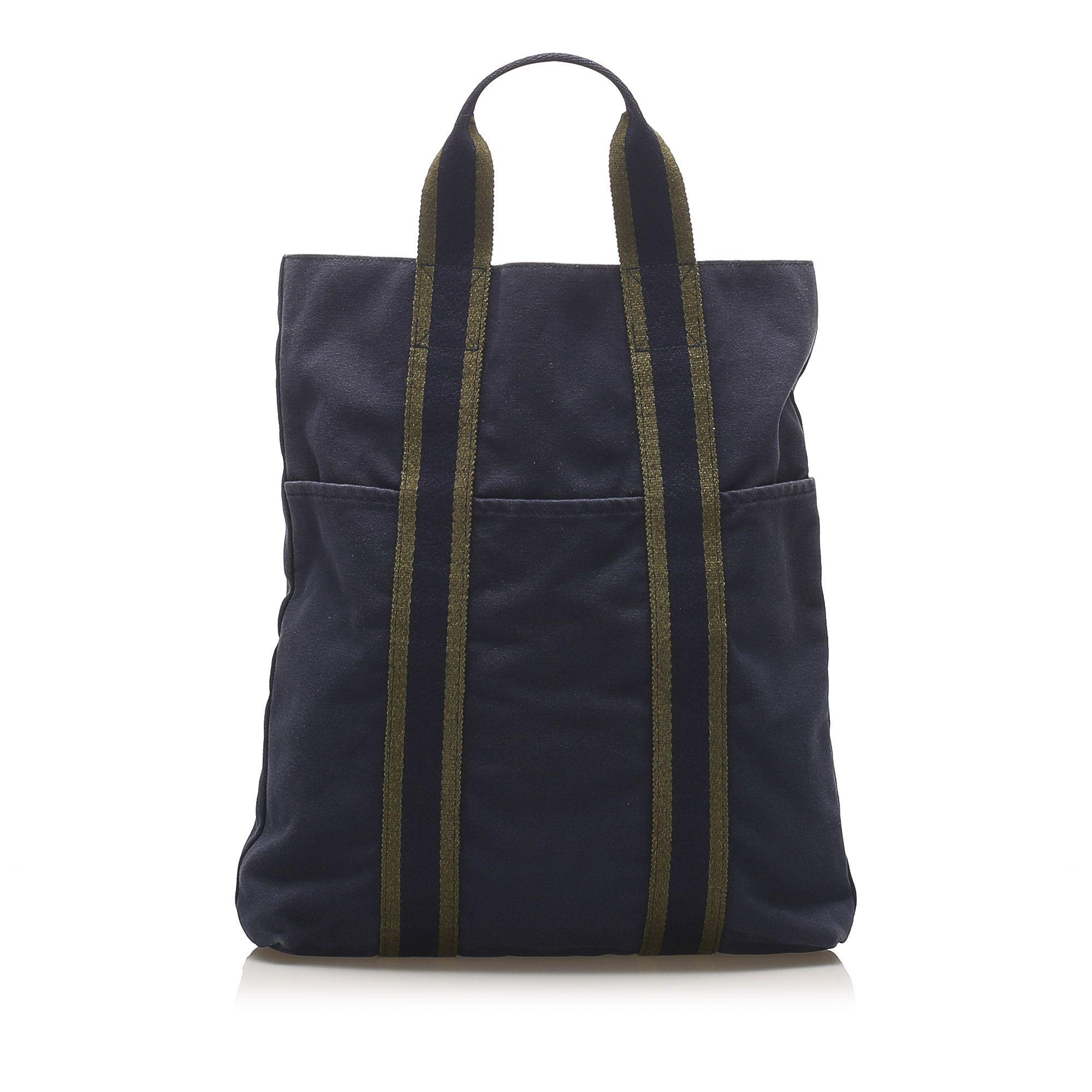 Vintage Hermes Fourre Tout Cabas Blue