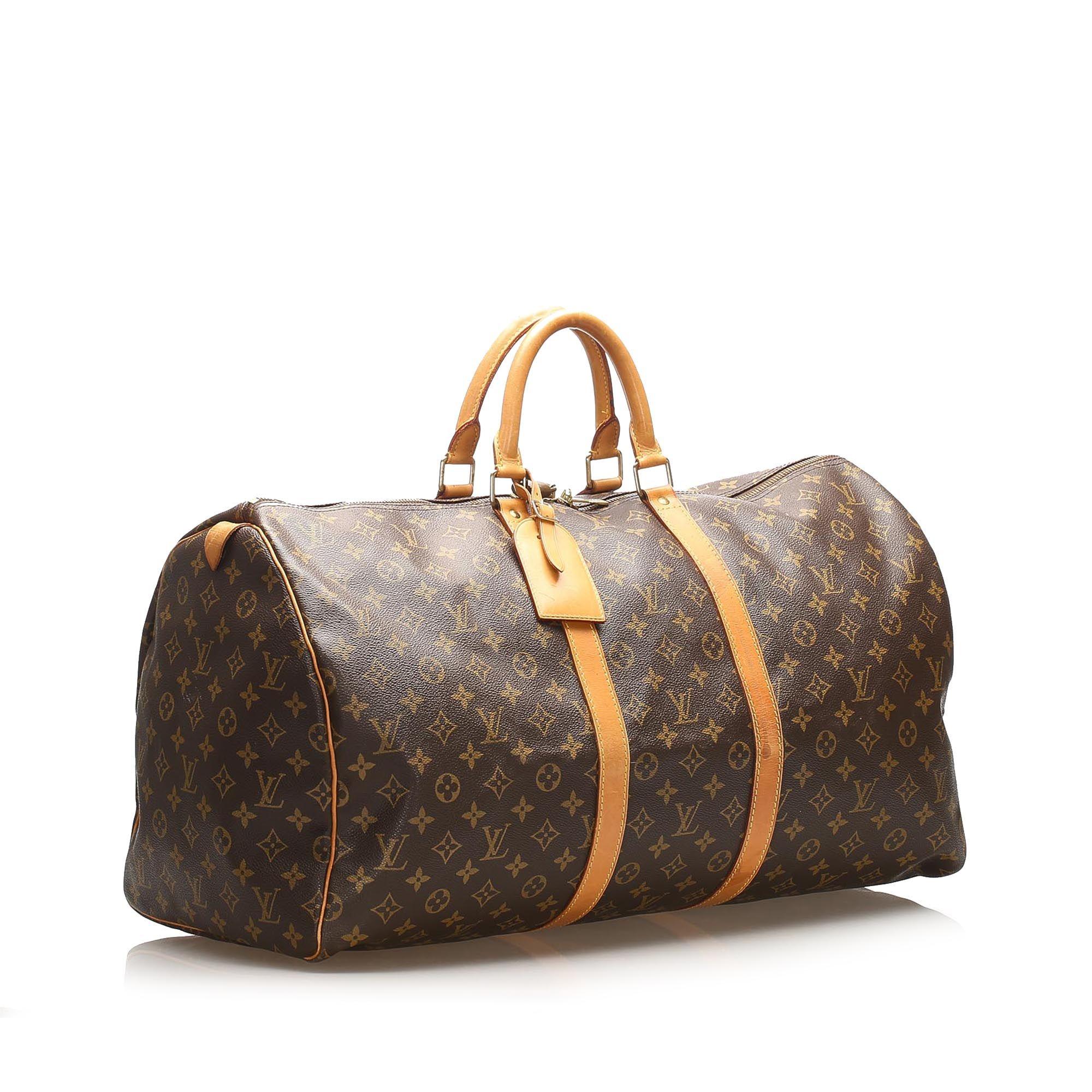 Vintage Louis Vuitton Monogram Keepall Bandouliere 60 Brown