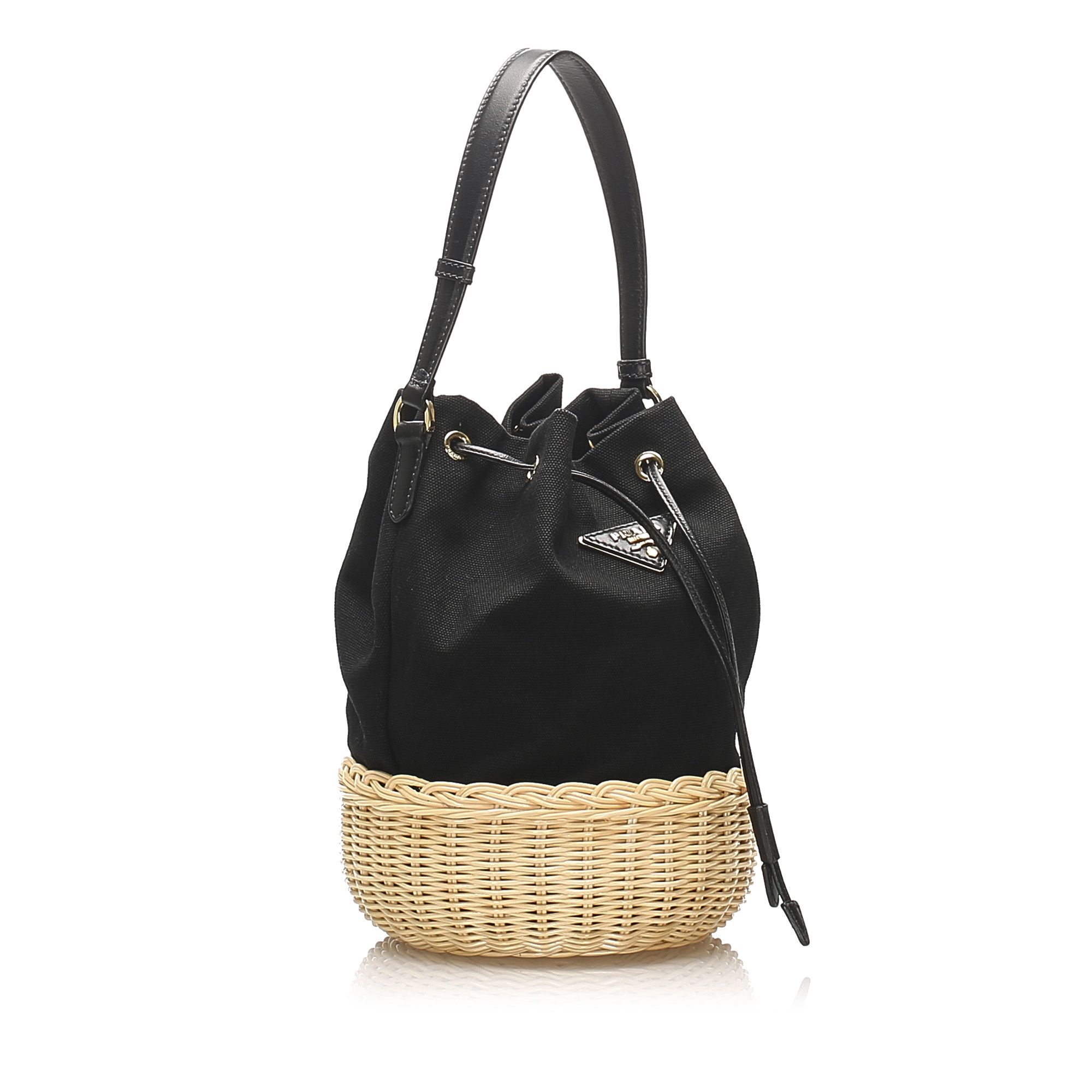 Vintage Prada Canvas Bucket Bag Black