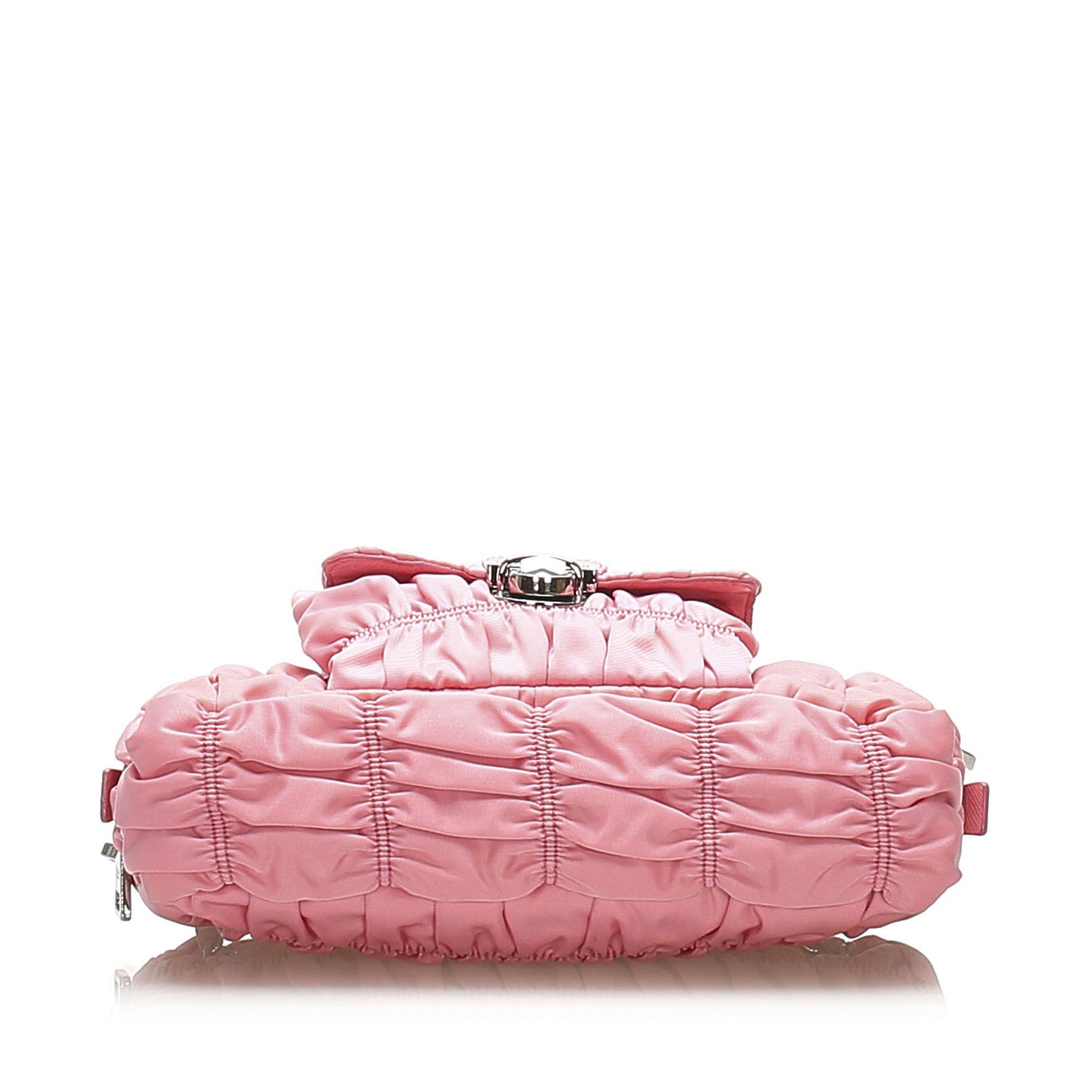 Vintage Prada Tessuto Gaufre Shoulder Bag Pink