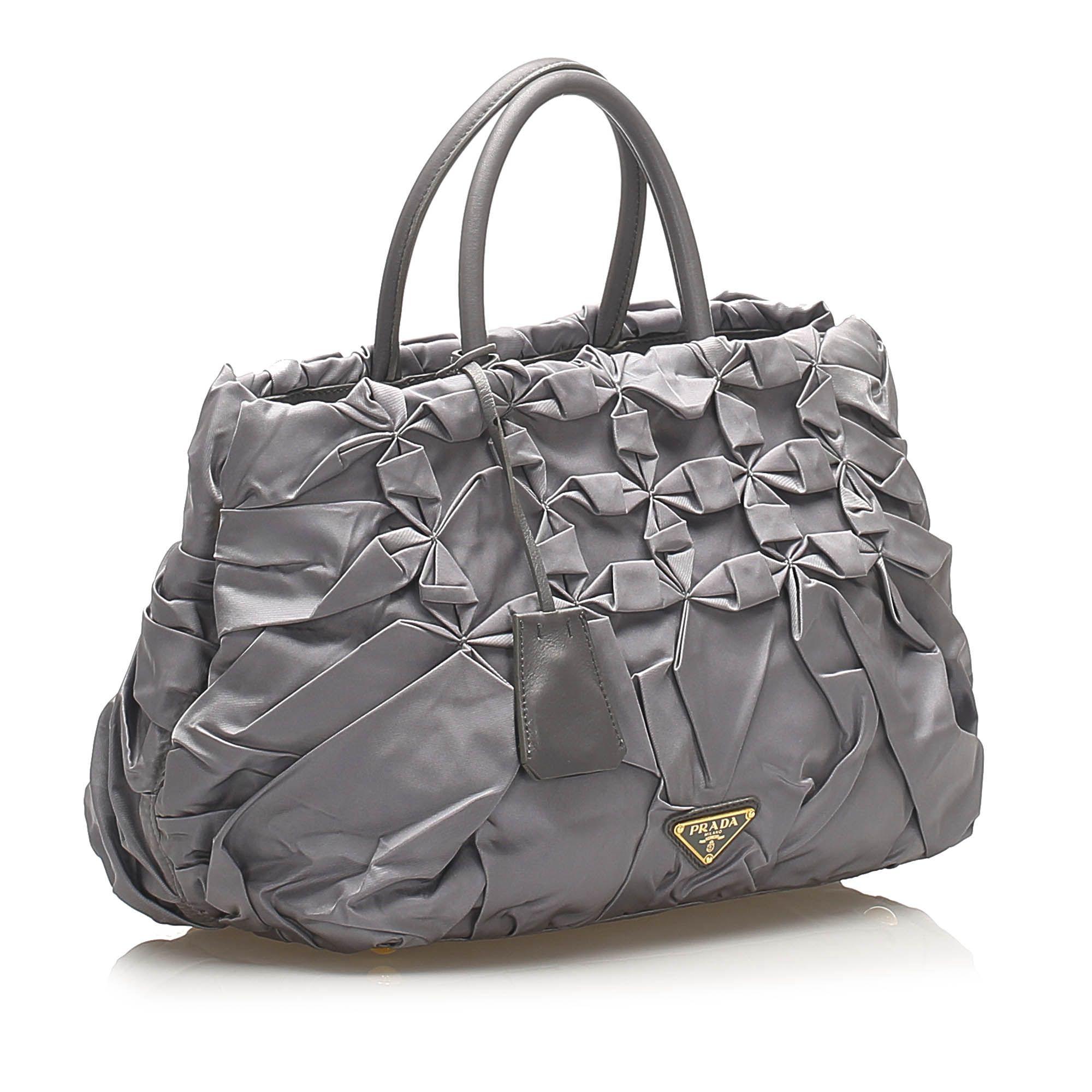 Vintage Prada Gathered Tessuto Tote Bag Gray