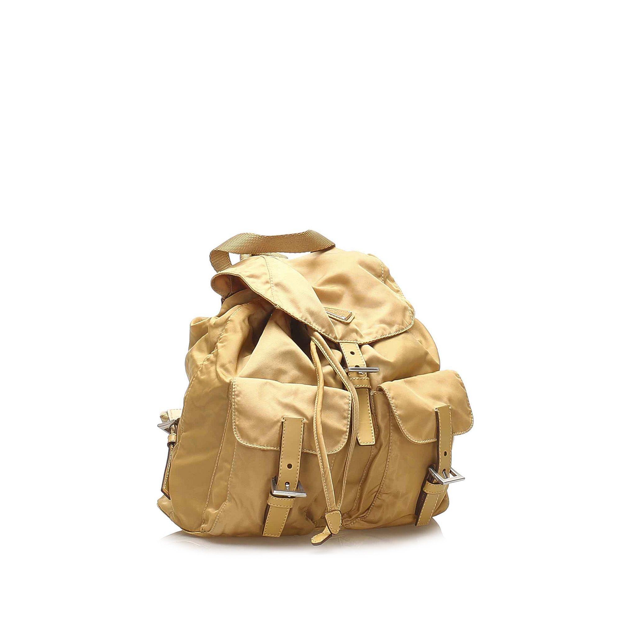 Vintage Prada Tessuto Drawstring Backpack Brown