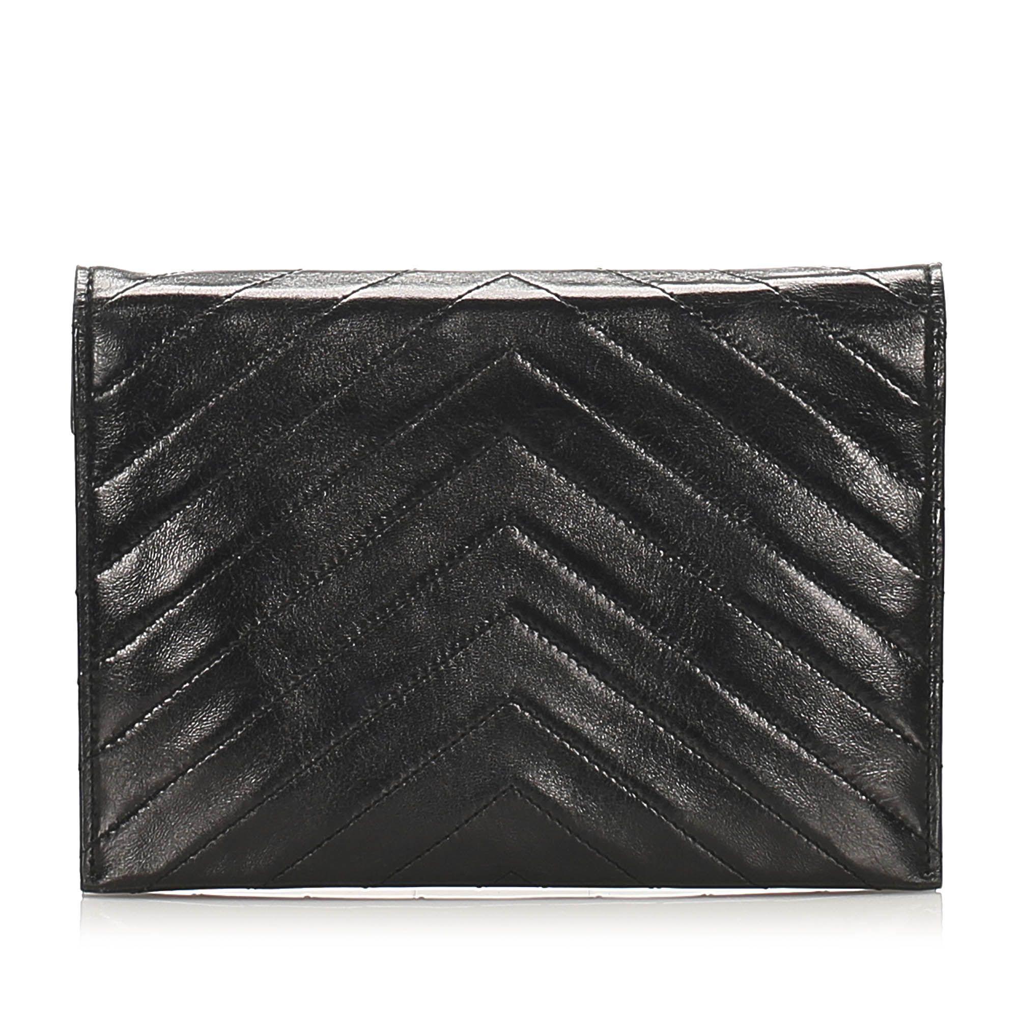 Vintage YSL Chevron Leather Clutch Bag Black