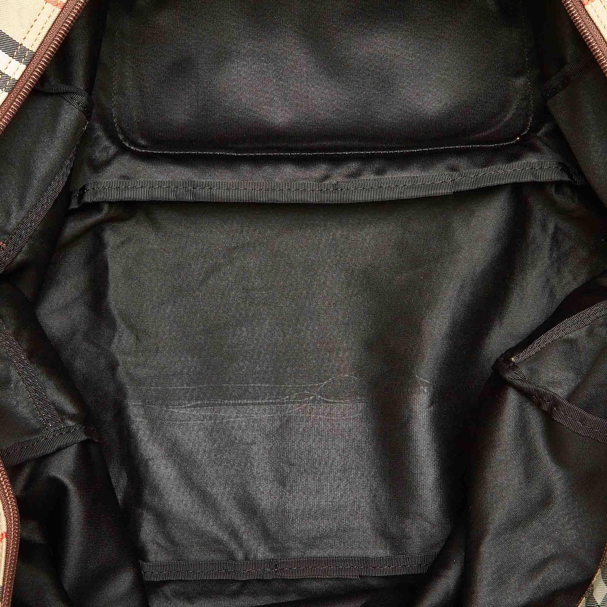 Vintage Burberry House Check Canvas Travel Bag Brown
