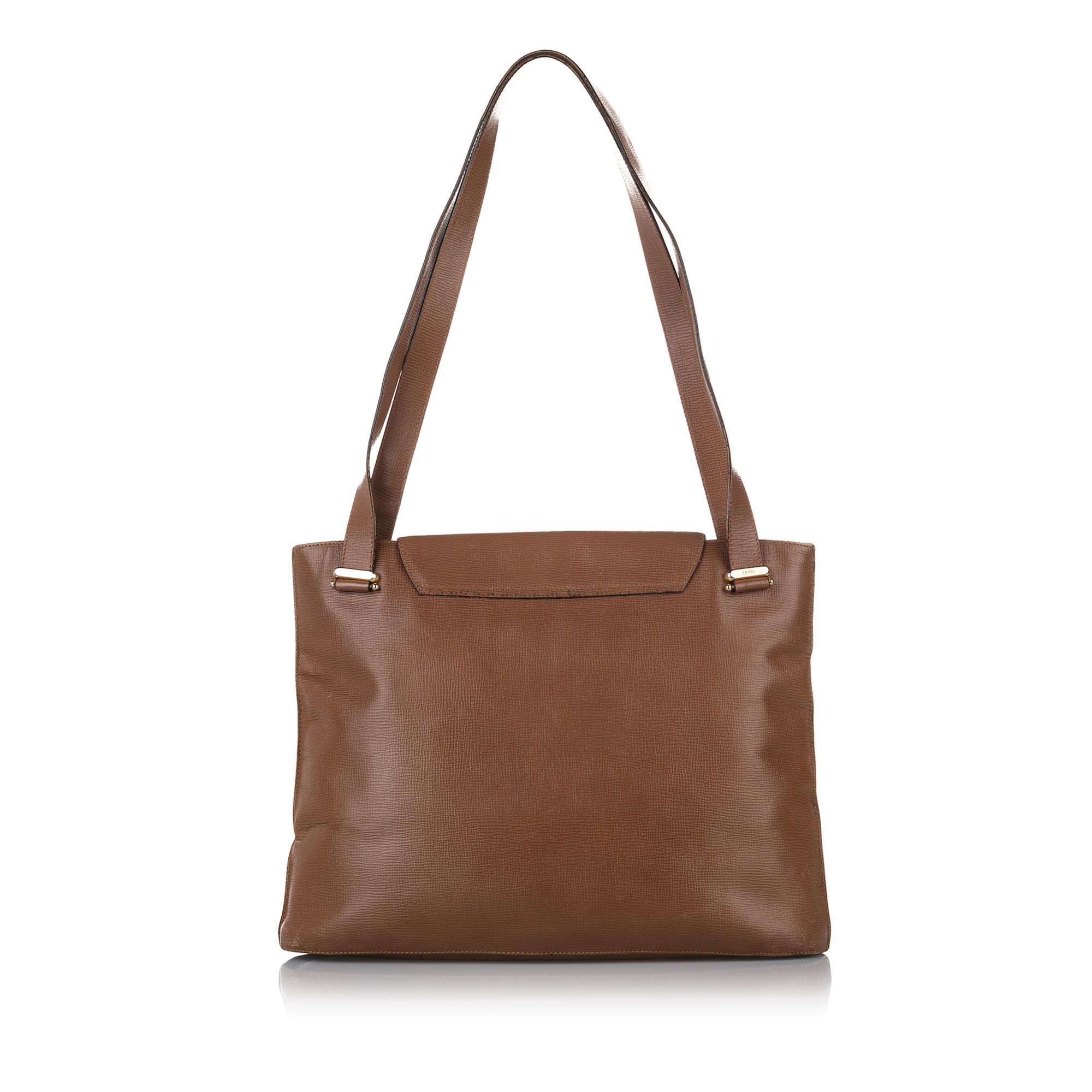 Vintage Fendi Leather Tote Bag Brown