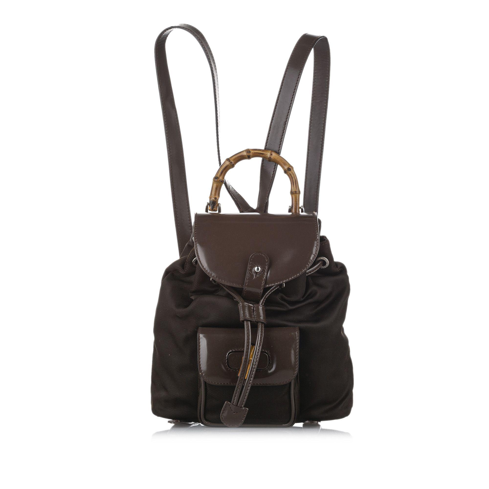 Vintage Gucci Bamboo Nylon Drawstring Backpack Brown