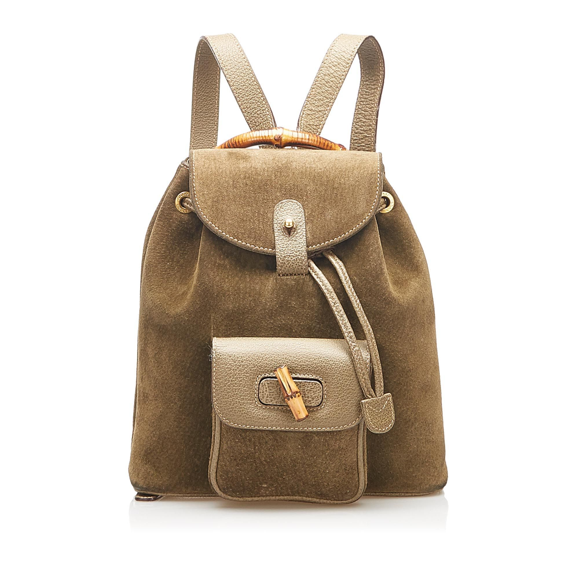 Vintage Gucci Bamboo Suede Backpack Brown