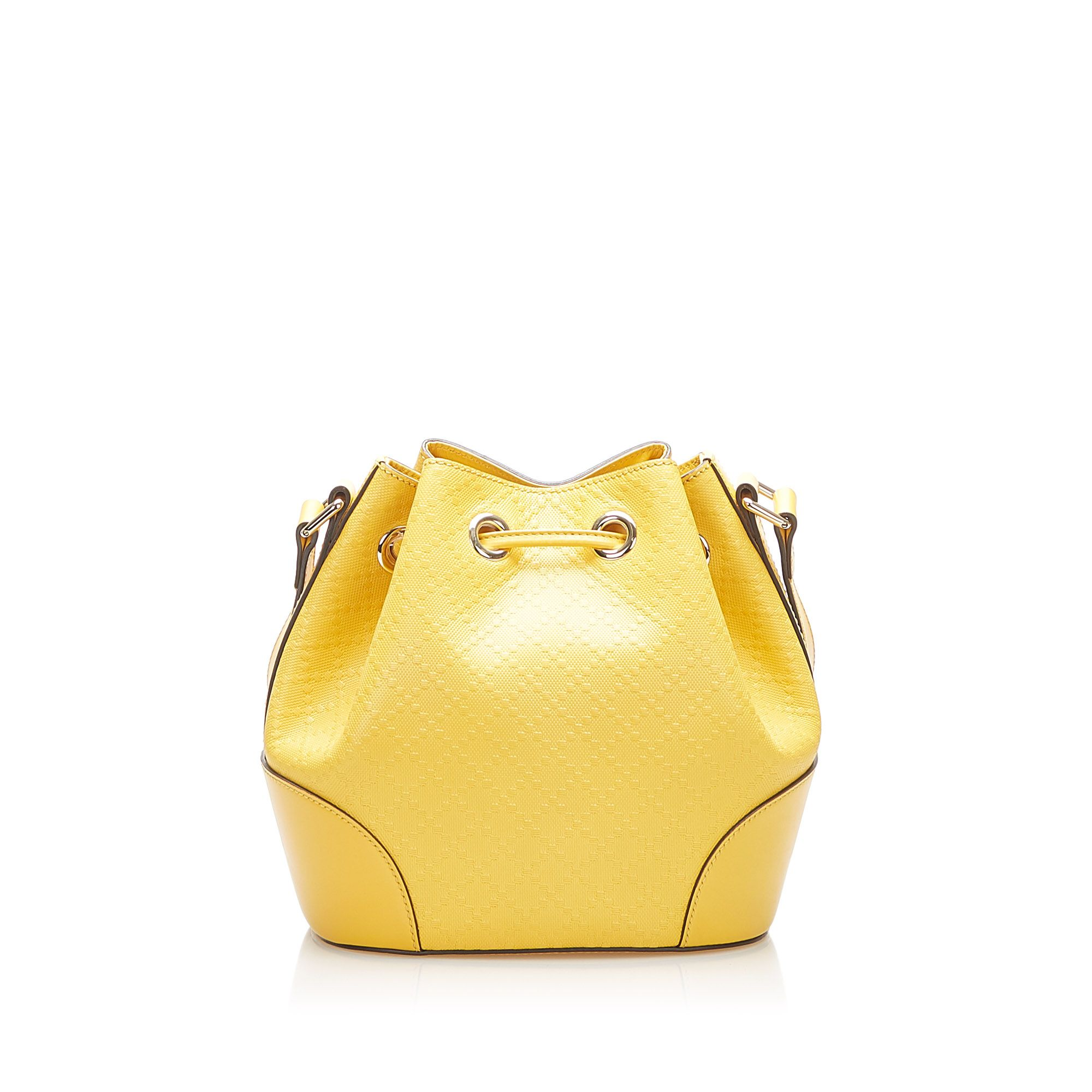 Vintage Gucci Diamante Bright Leather Bucket Bag Yellow