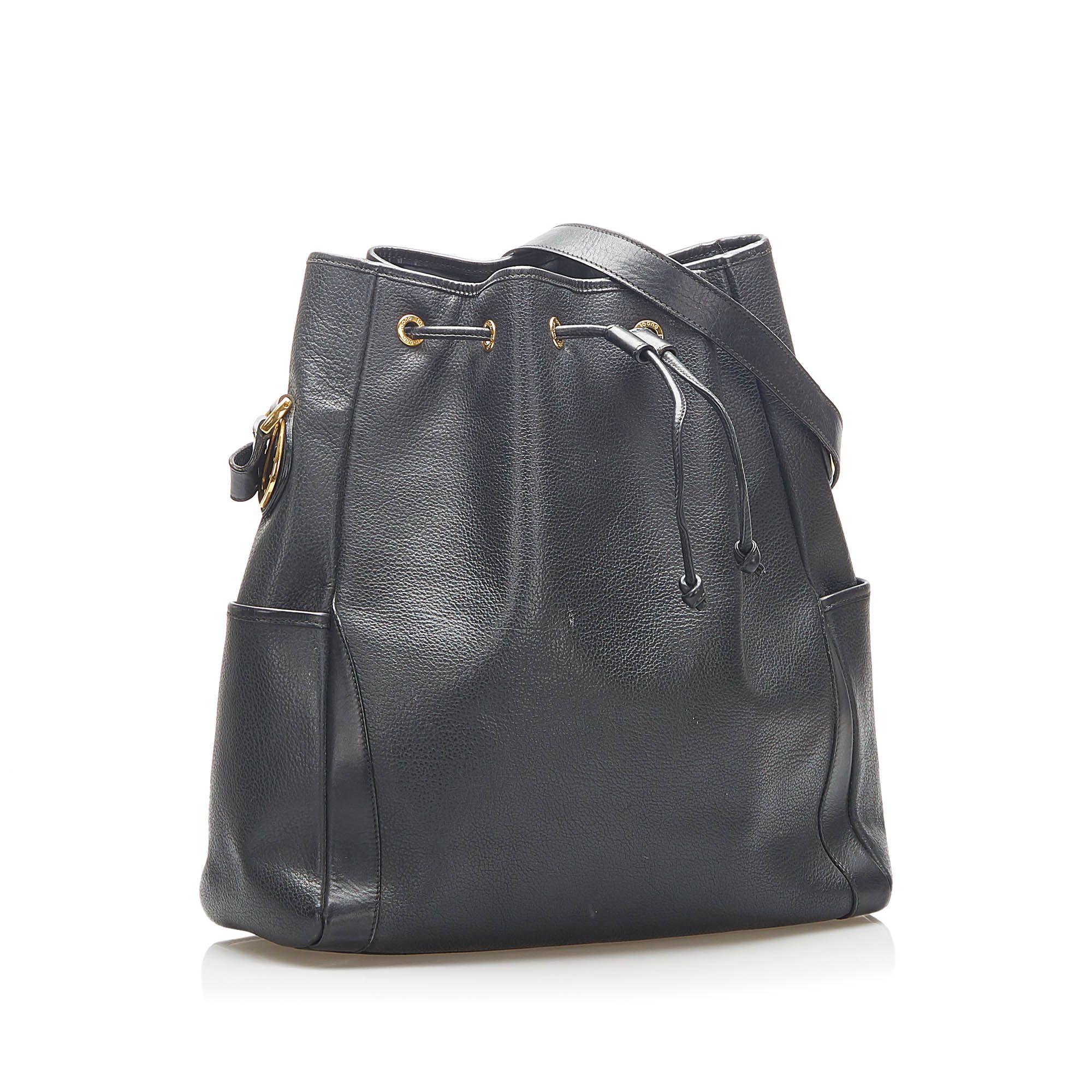 Vintage Gucci Leather Bucket Bag Black