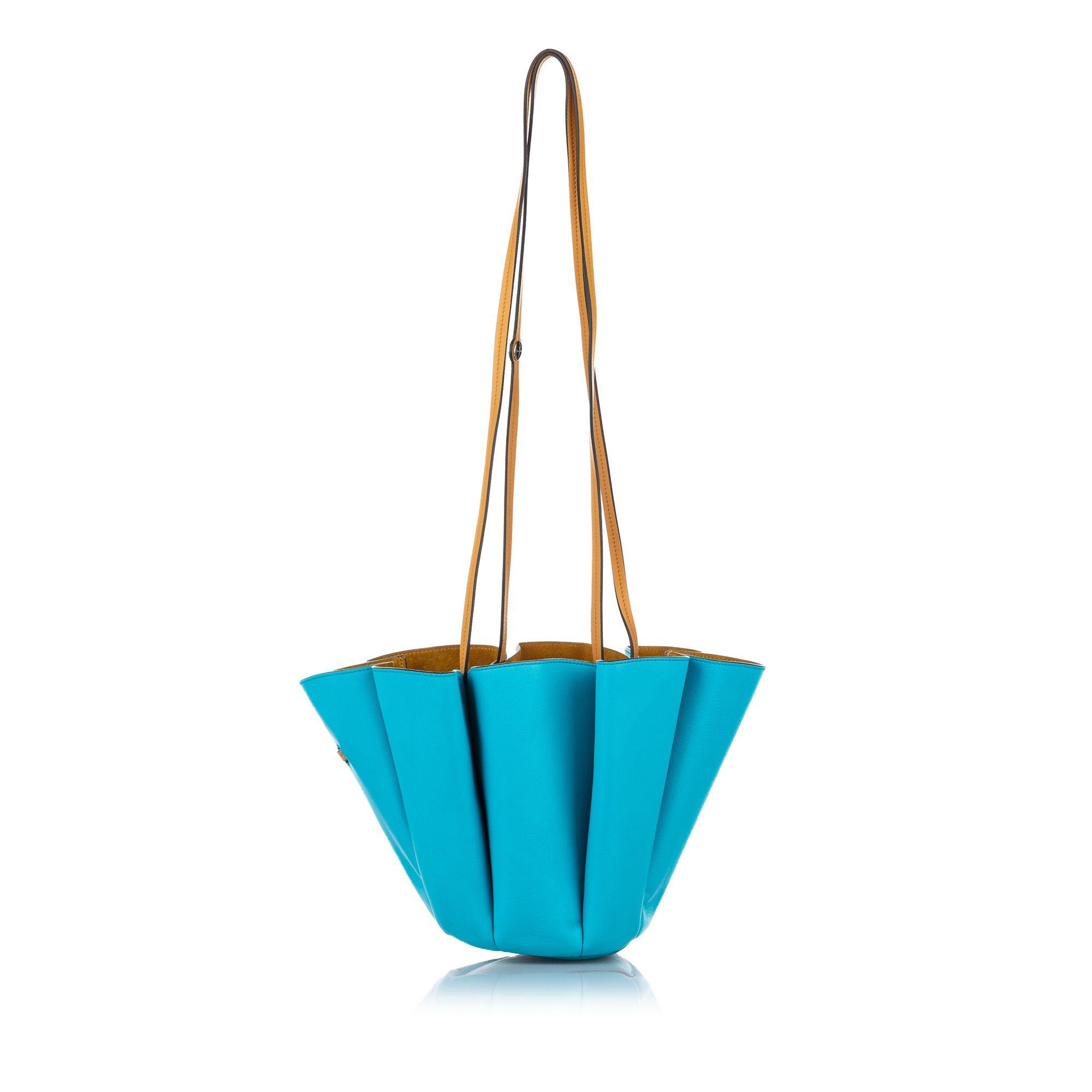 Vintage Lanvin Margeurite Bicolor Leather Bucket Bag Blue