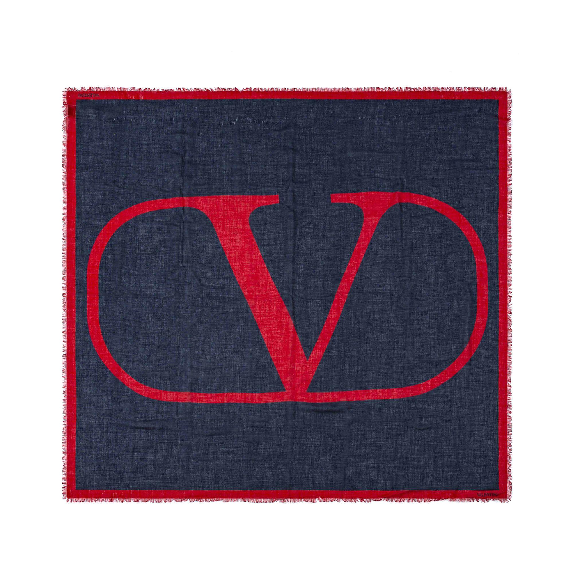 Vintage Valentino V Logo Scarf Blue