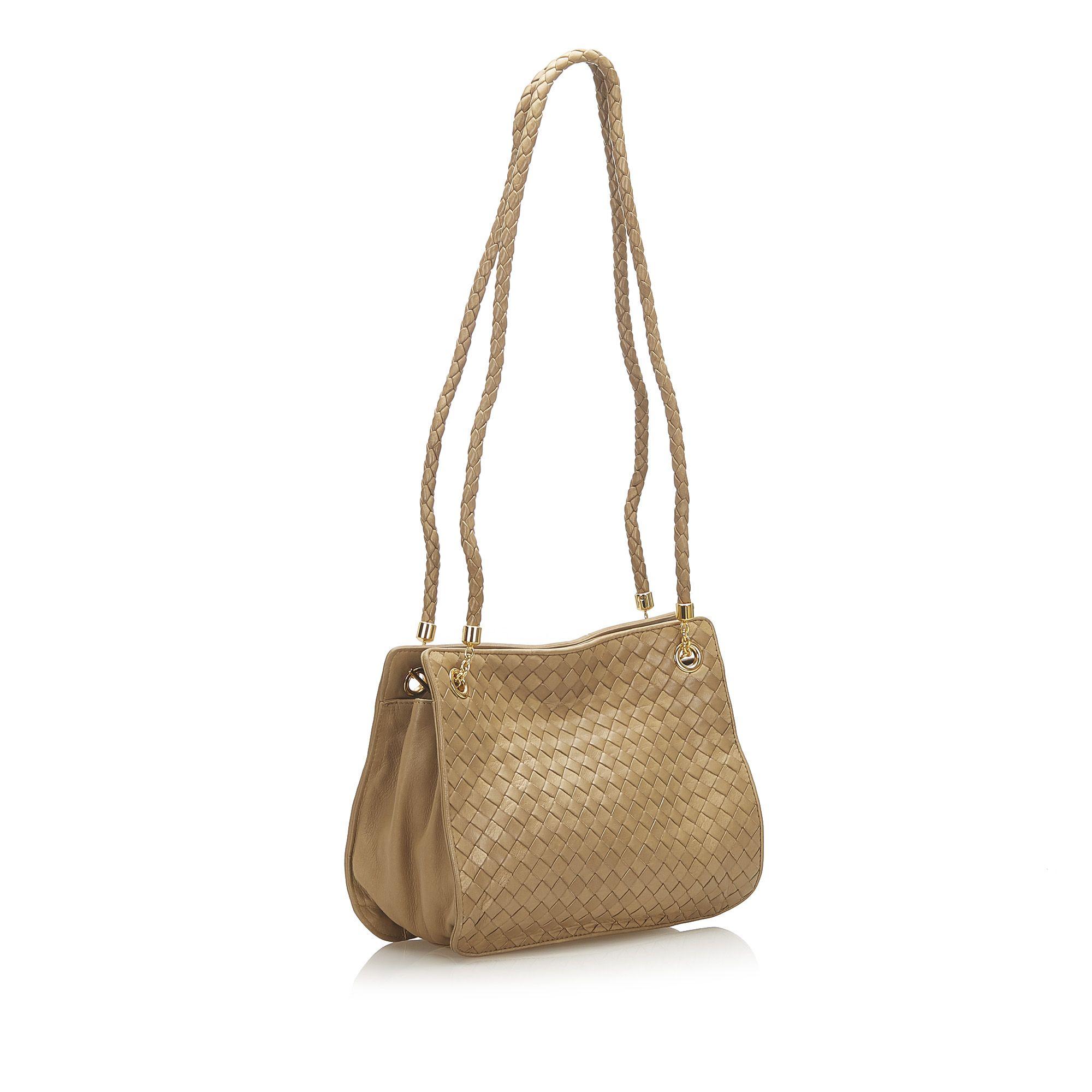Vintage Bottega Veneta Intrecciato Leather Shoulder Bag Brown