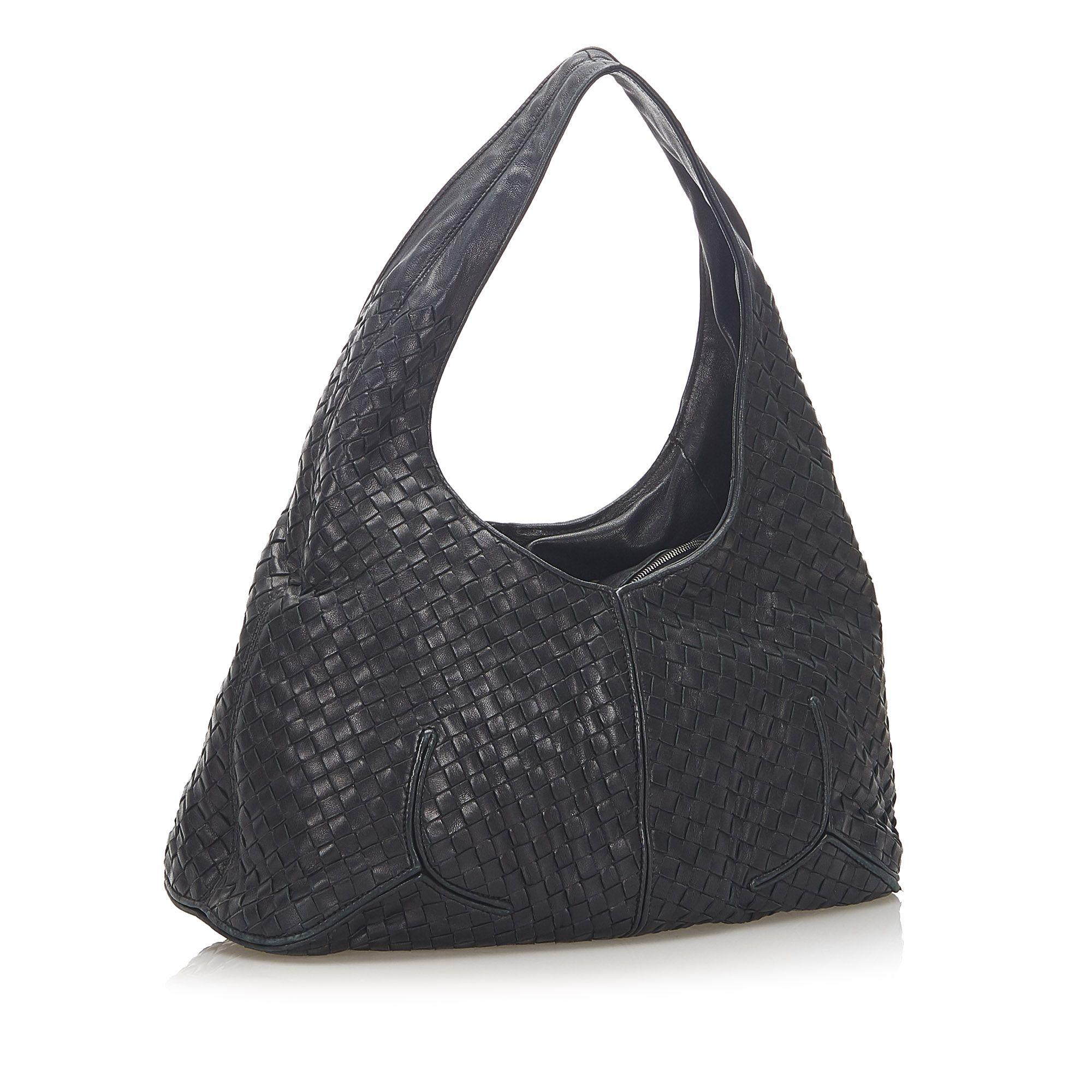 Vintage Bottega Veneta Intrecciato Leather Hobo Bag Black