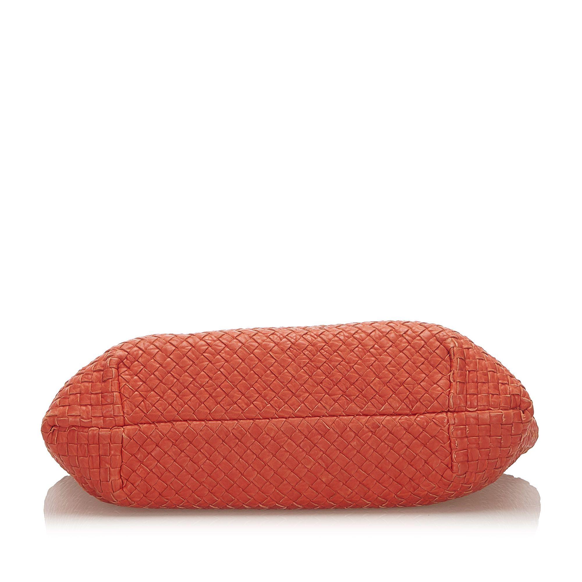 Vintage Bottega Veneta Intrecciato Capri Leather Tote Bag Red