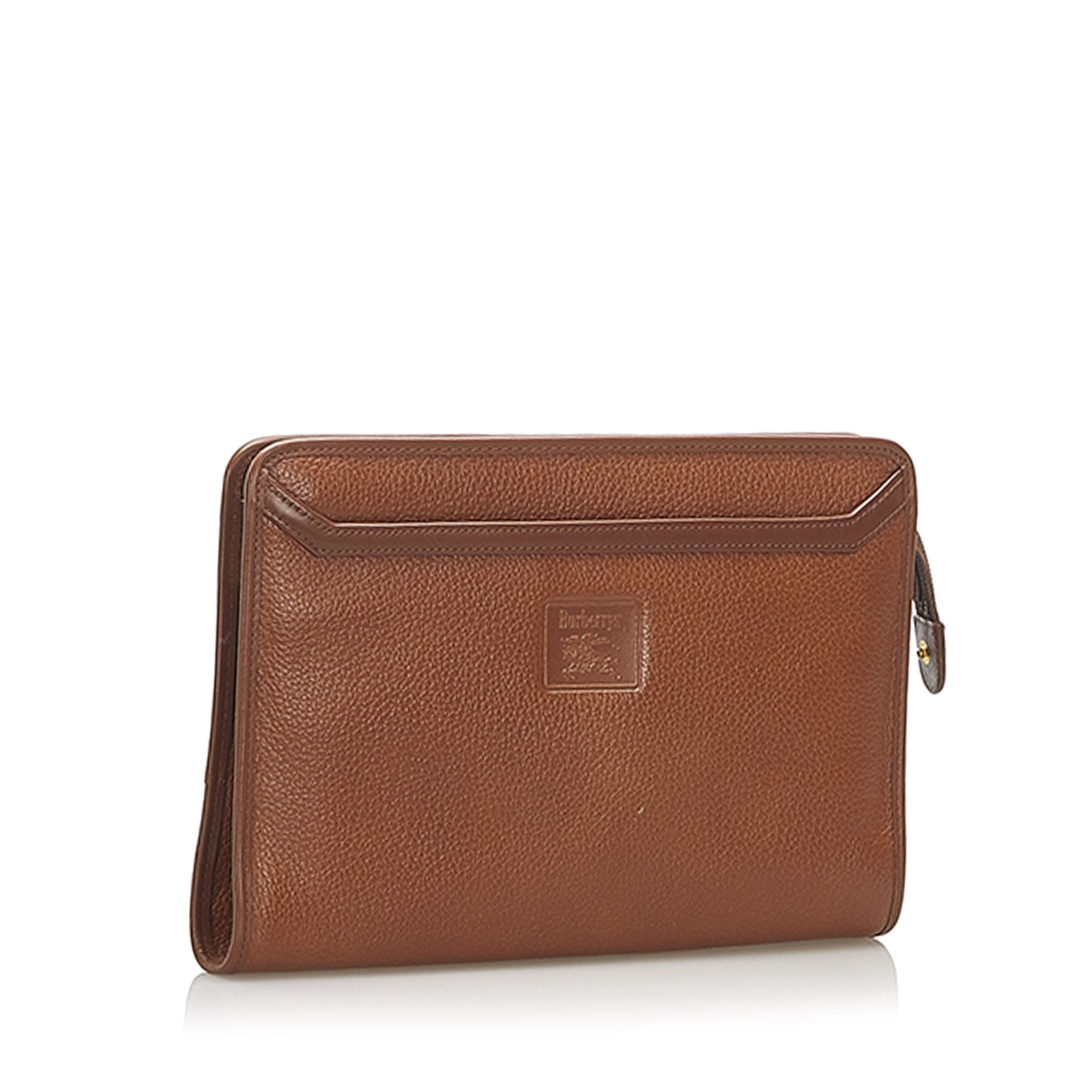 Vintage Burberry Leather Clutch Bag Brown