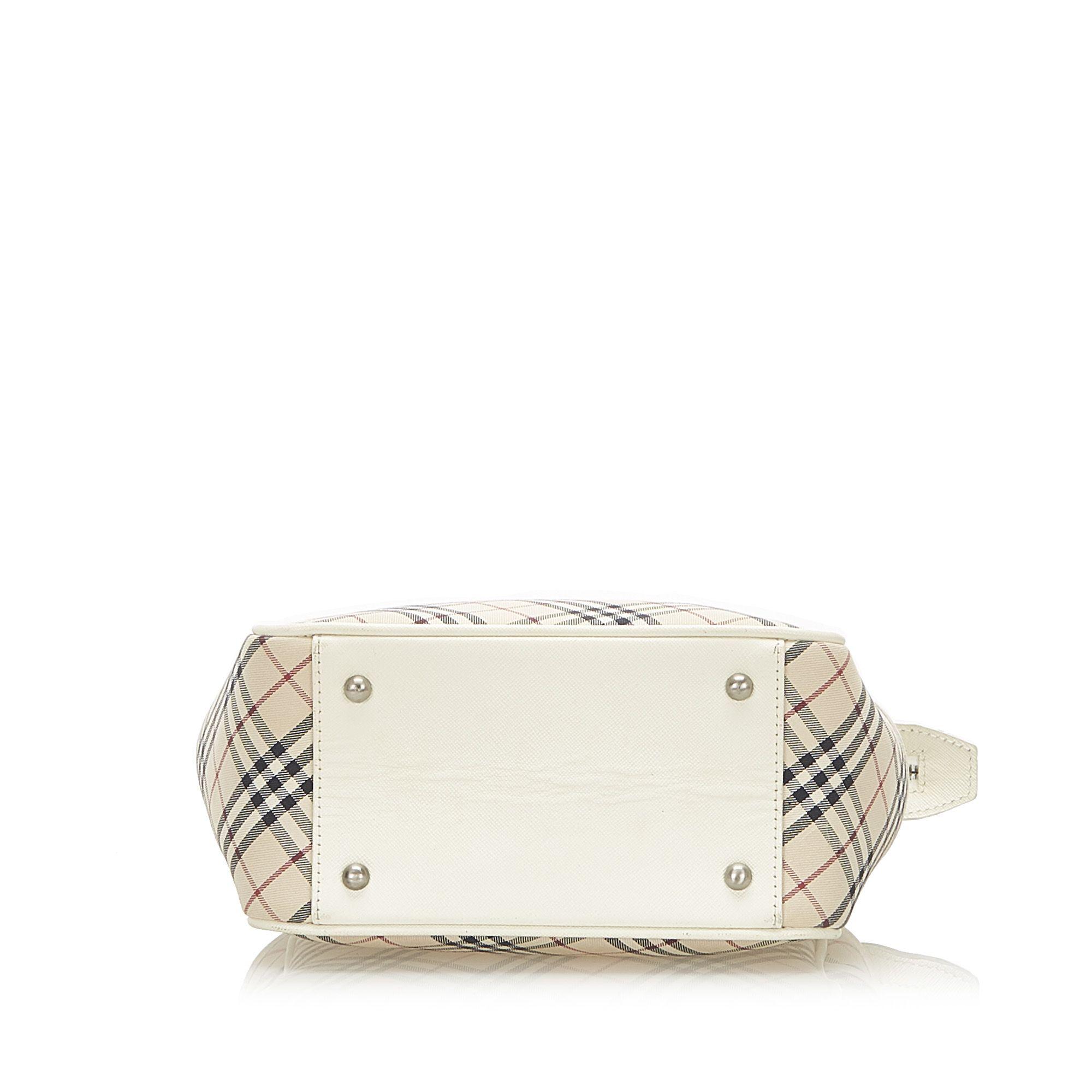 Vintage Burberry Nova Check Canvas Handbag White