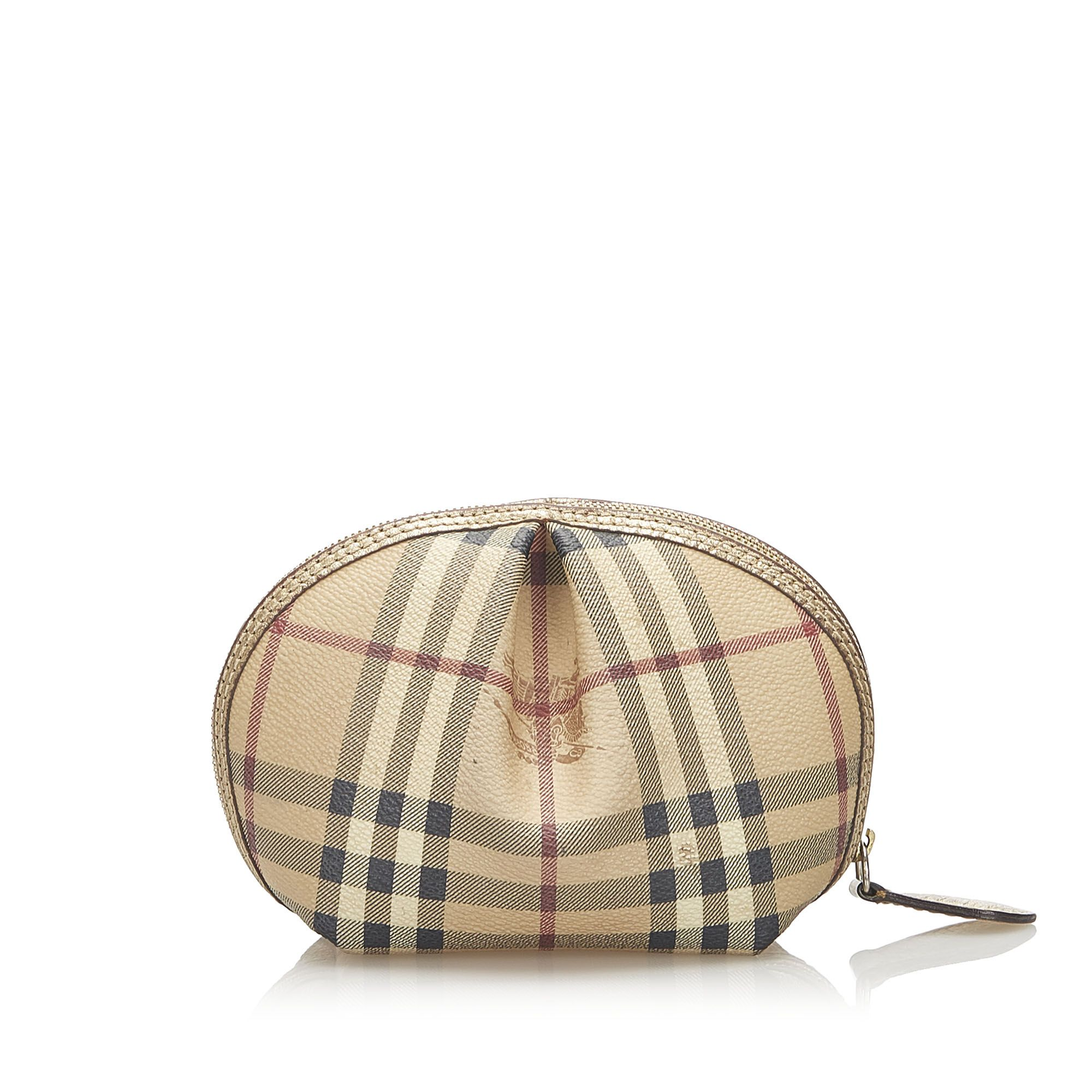 Vintage Burberry House Check Canvas Pouch Brown